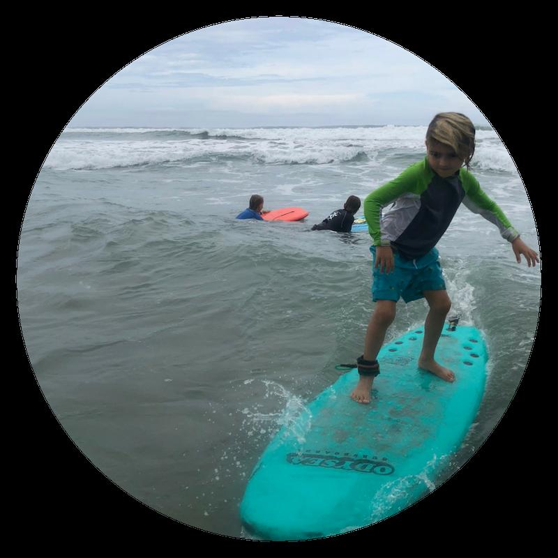 family children surf santa teresa