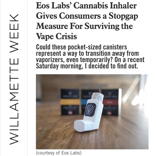 Check out this Willamette Week article about EOS Inspire inhalers 💨 #discreet #eosinspire . . To read the full article, click here — https://www.wweek.com/potlander/2019/10/01/eos-labs-cannabis-inhaler-gives-consumers-a-stopgap-measure-for-surviving-the-vape-crisis/ . . Do not operate a vehicle or machinery under the influence of this drug. For use only by adults twenty-one years of age and older. Keep out reach of children. . . #pnwcannabis #portlandoregon #portlanddispensary #thc #cbd #cbdheals#weed #cannabiscommunity #dispensary #portlandcannabis #oregoncannabis #weedporn #thcinhaler #cbdinhaler #cbdinhalers #weedstagram420 #womenincannabis #1to1 #oregondispensary #recreationalmarijuana #cbdheals #medicalmarijuana #cannabisculture #madeinoregon#cbdlife #portland #pdx