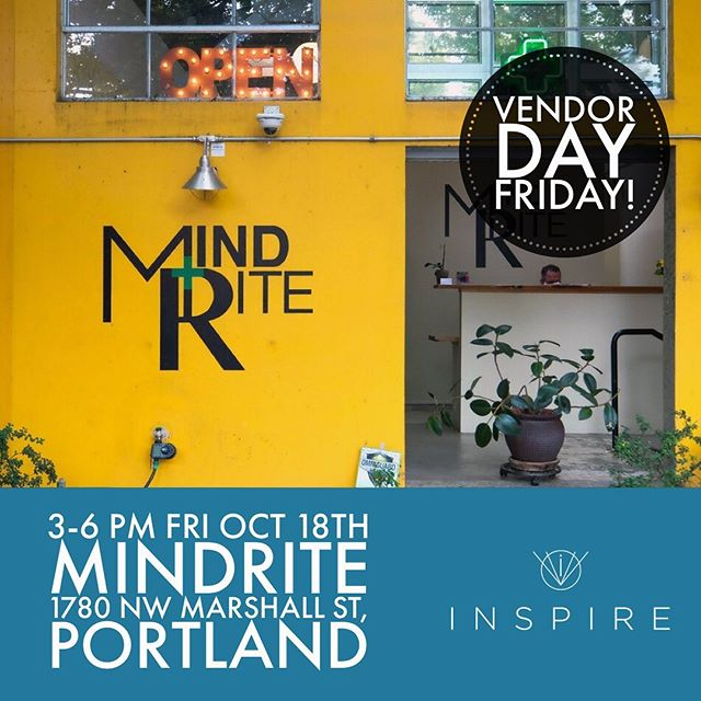 It's Vendor Day this Friday, Oct. 18 at @mindritepdx_  from 3-6pm! Come say hello and check out our inhalers. 📌 . . 1780 NW Marshall St, Portland, OR 97209 . . Do not operate a vehicle or machinery under the influence of this drug. For use only by adults twenty-one years of age and older. Keep out reach of children.