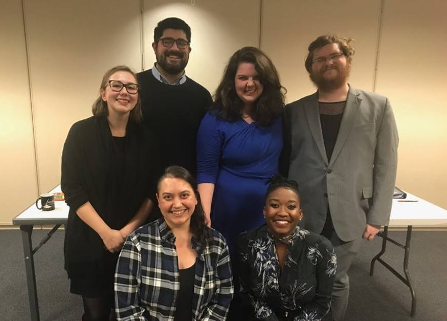 Top row (from left to right): Emily McCort, Dylan Arredondo, Bridget Grace Sheaff, T.P. Huth. Bottom row (from left to right): Ezra Tozian, Jessica Bennett