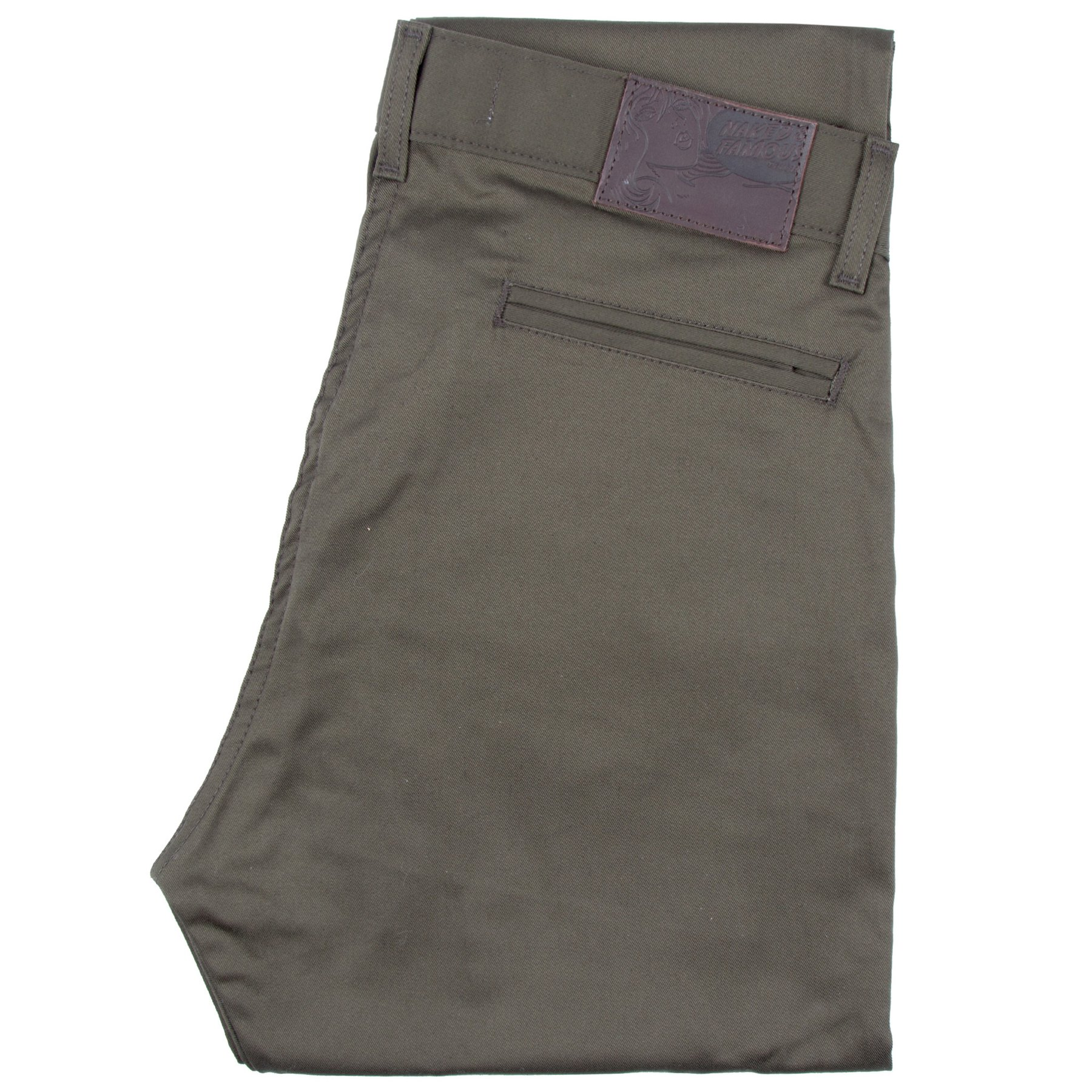 khaki green stretch twill - Slim Chino