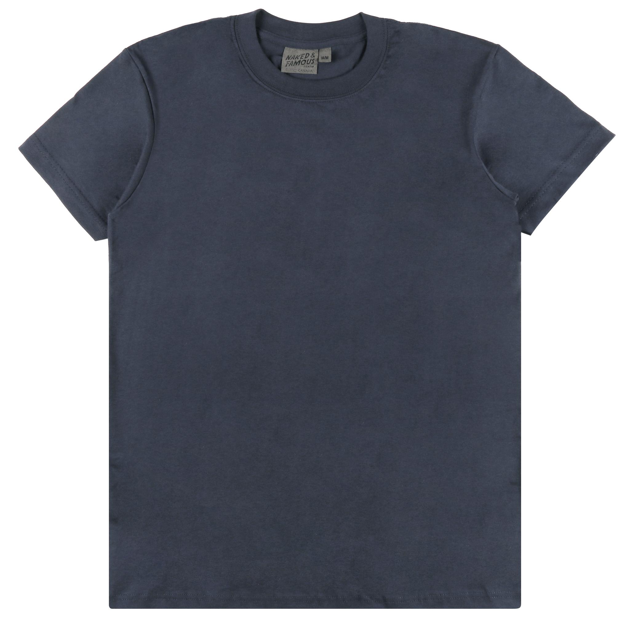 NAVY RINGSPUN COTTON - Circular T-Shirt