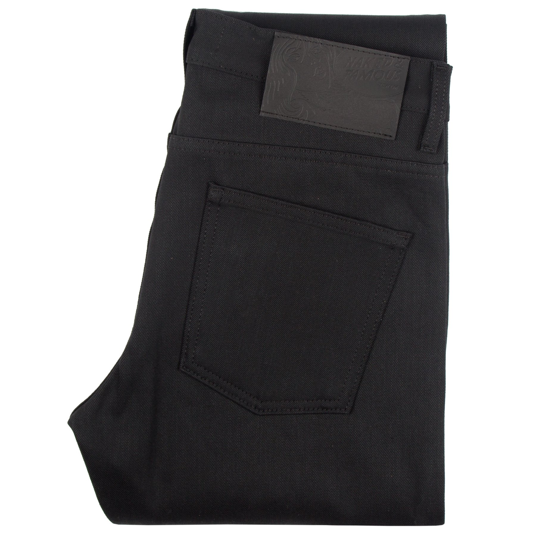 Solid Black Selvedge Jeans Folded
