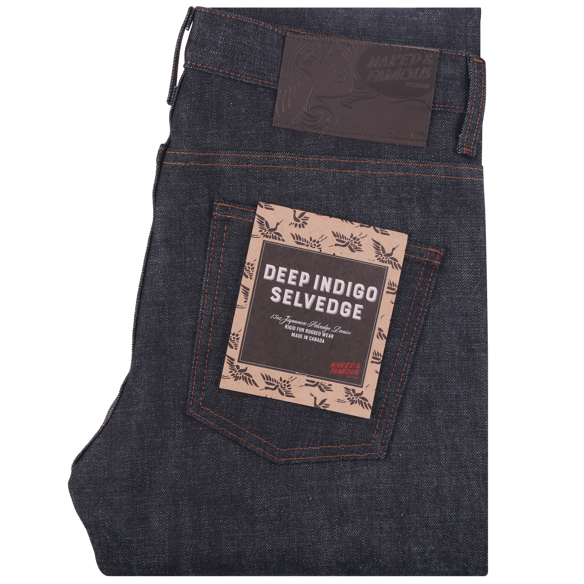 Deep Indigo Rigid Selvedge Jeans Folded