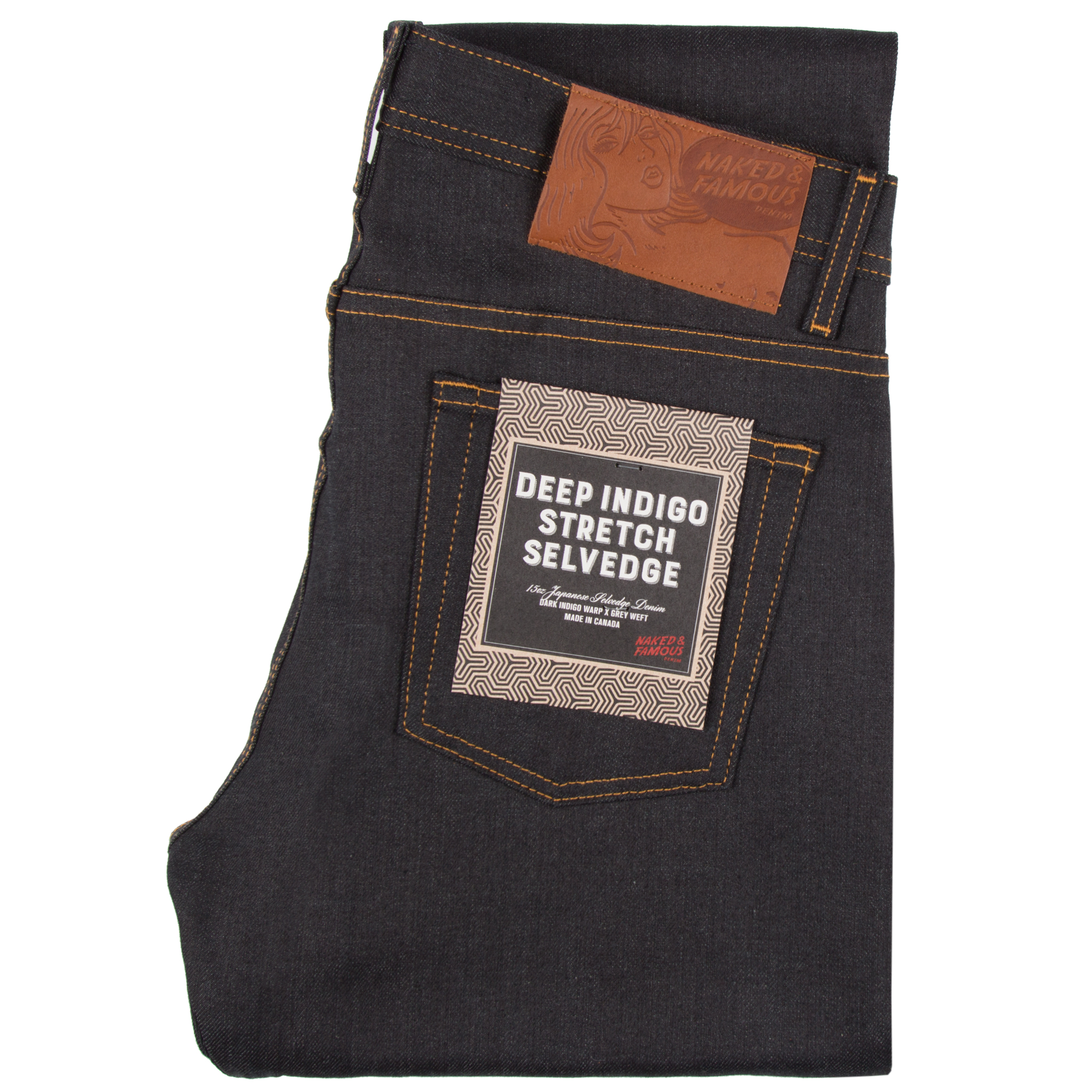 Deep Indigo Stretch Selvedge Jeans Folded