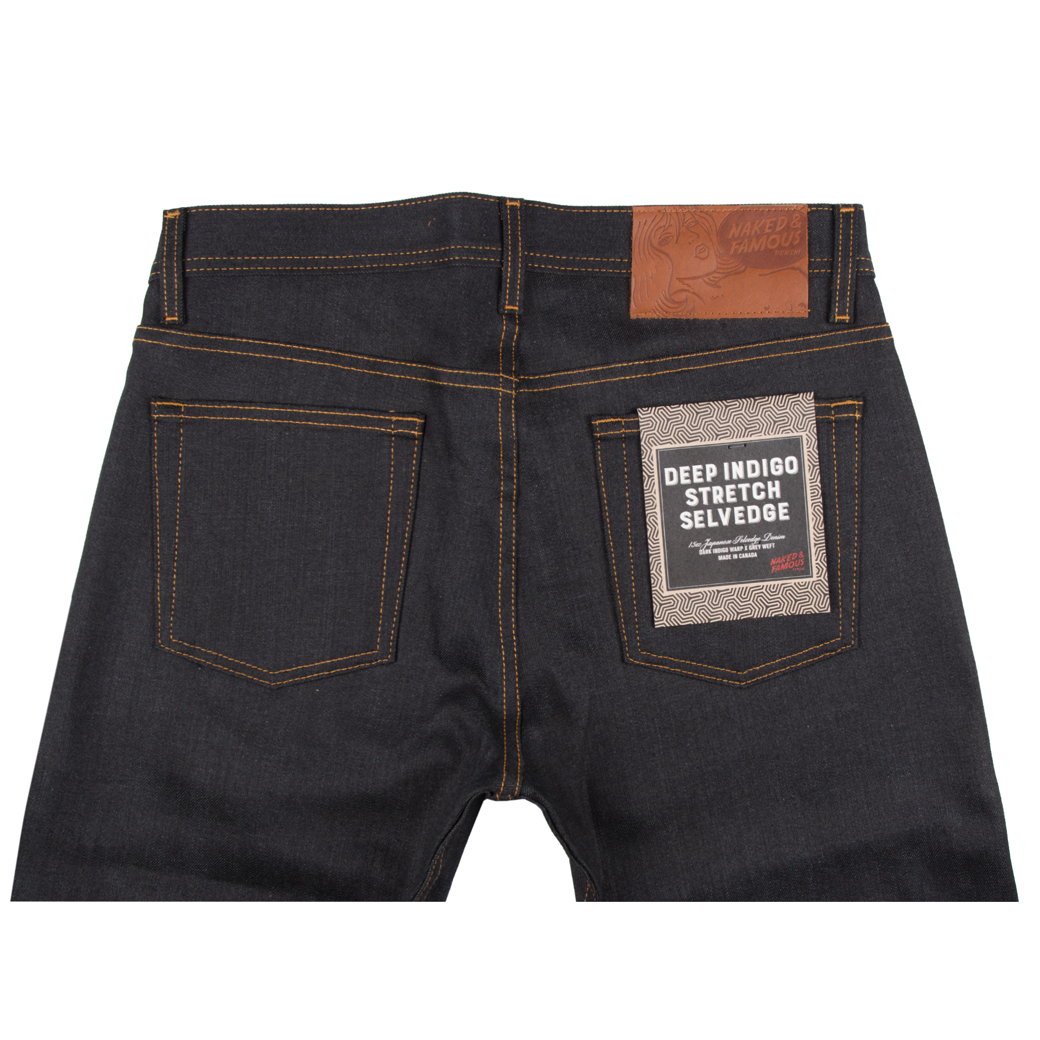 Deep Indigo Stretch Selvedge Jeans Back