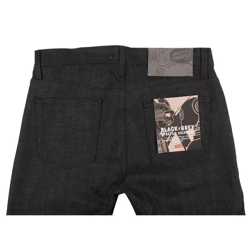 Black x Grey Stretch Selvedge Jeans Back