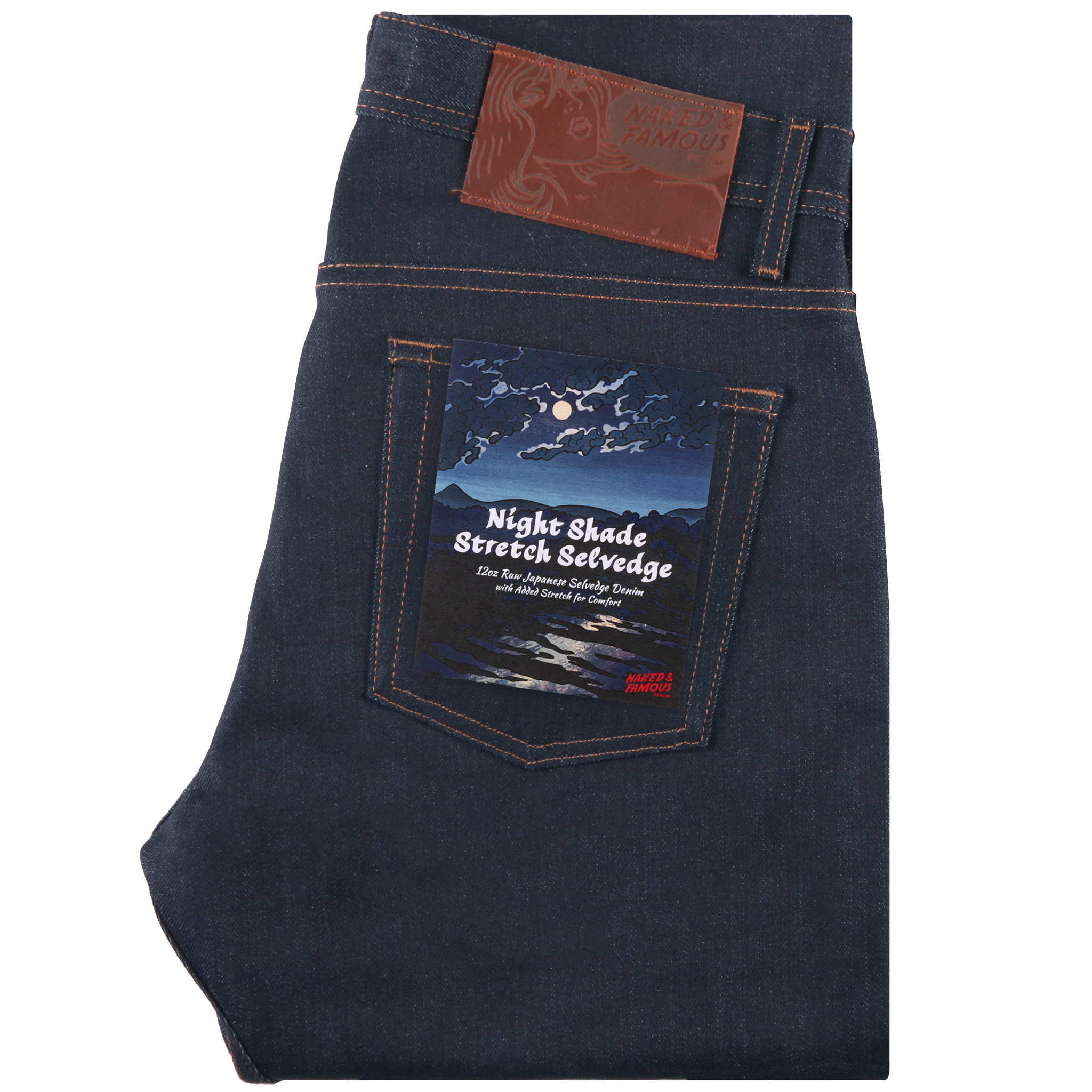 Night Shade Stretch Selvedge Jeans Folded