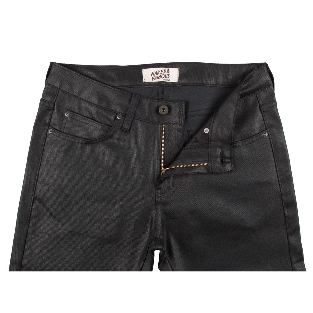 Black Waxed Stretch Jeans Front