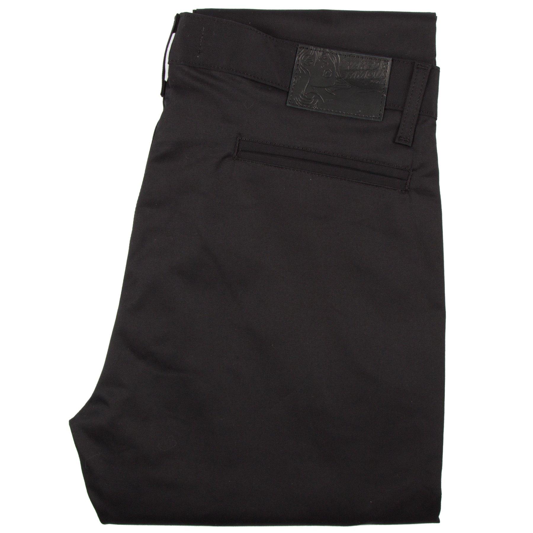 Black Stretch Twill Slim Chino Folded