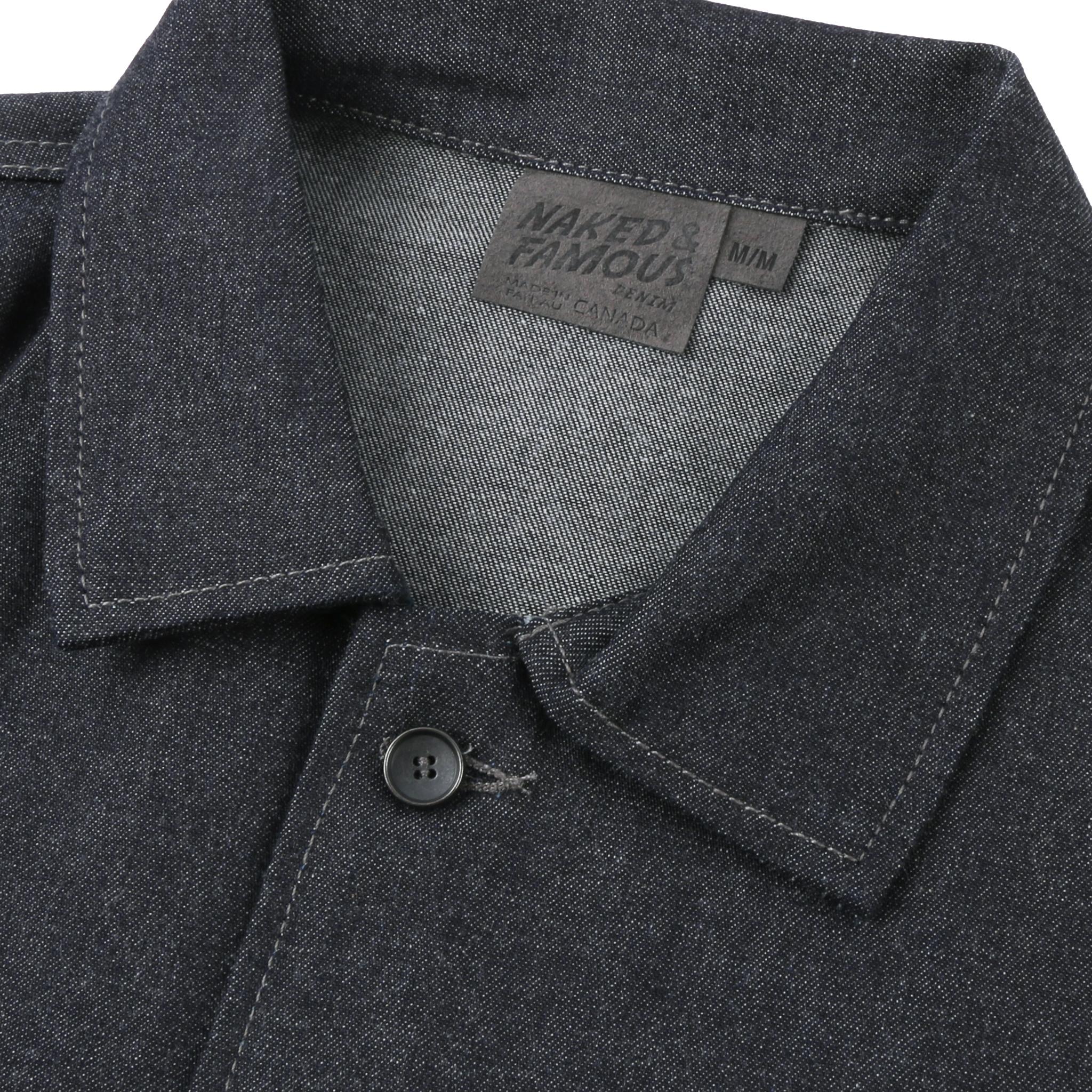 10pz Indigo Denim Workshirt Collar View