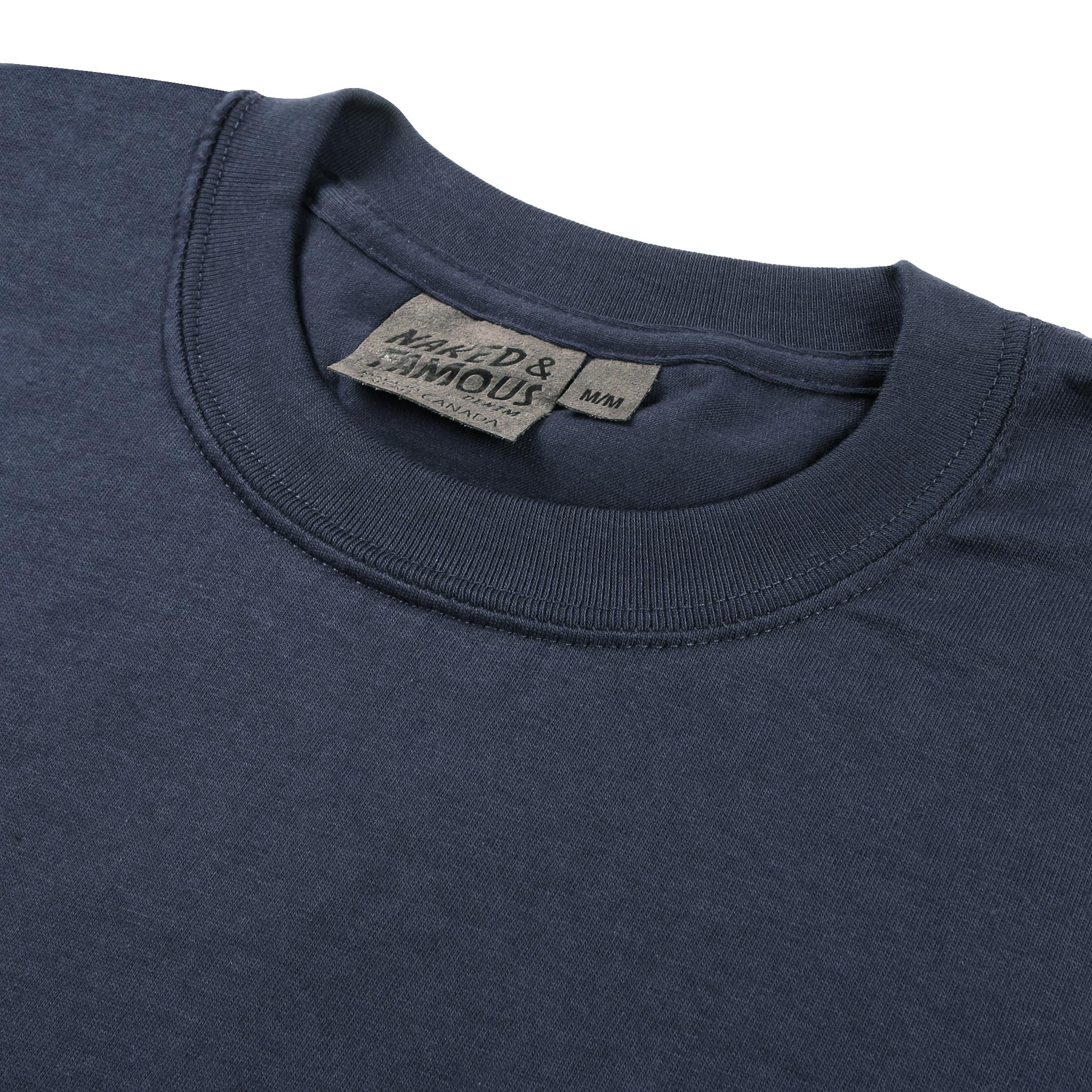 Navy Circular Knit T-Shirt Collar View