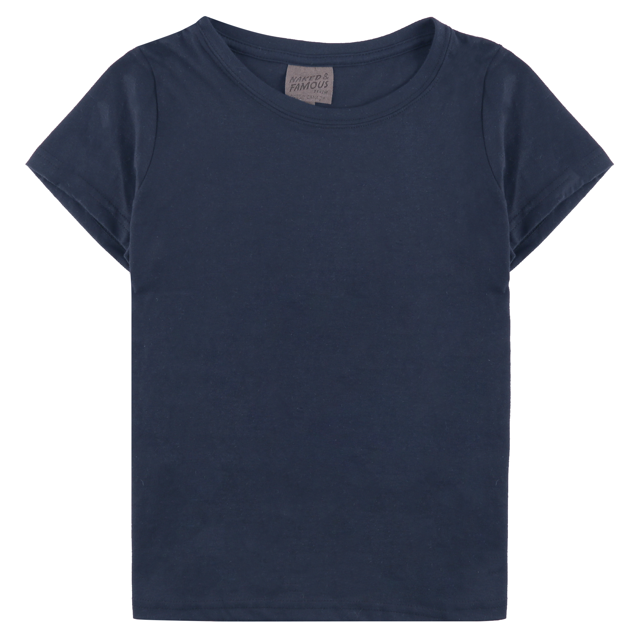NAVY RINGSPUN COTTON - Circular T-Shirt