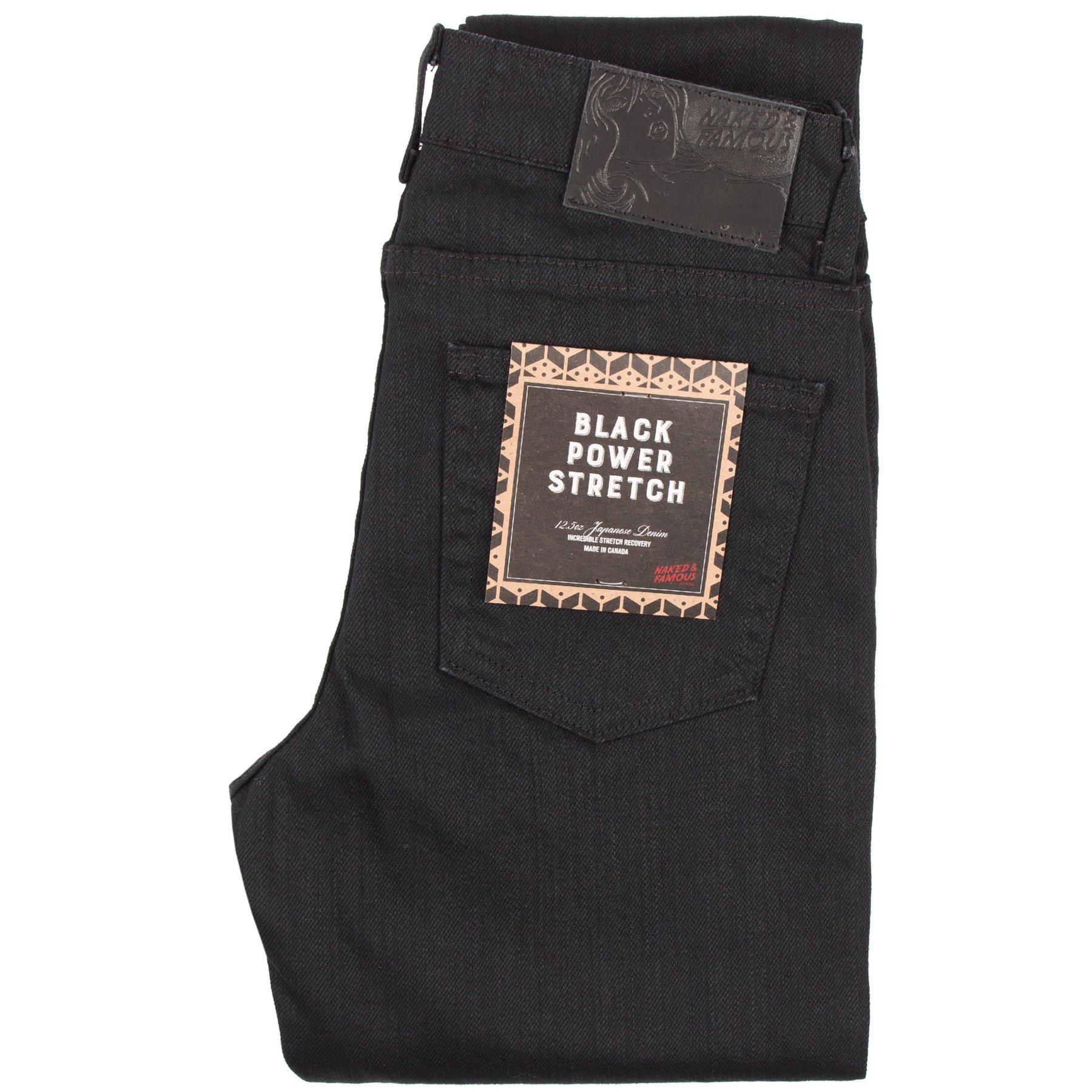 Women's Black Power-Stretch jeans folded view