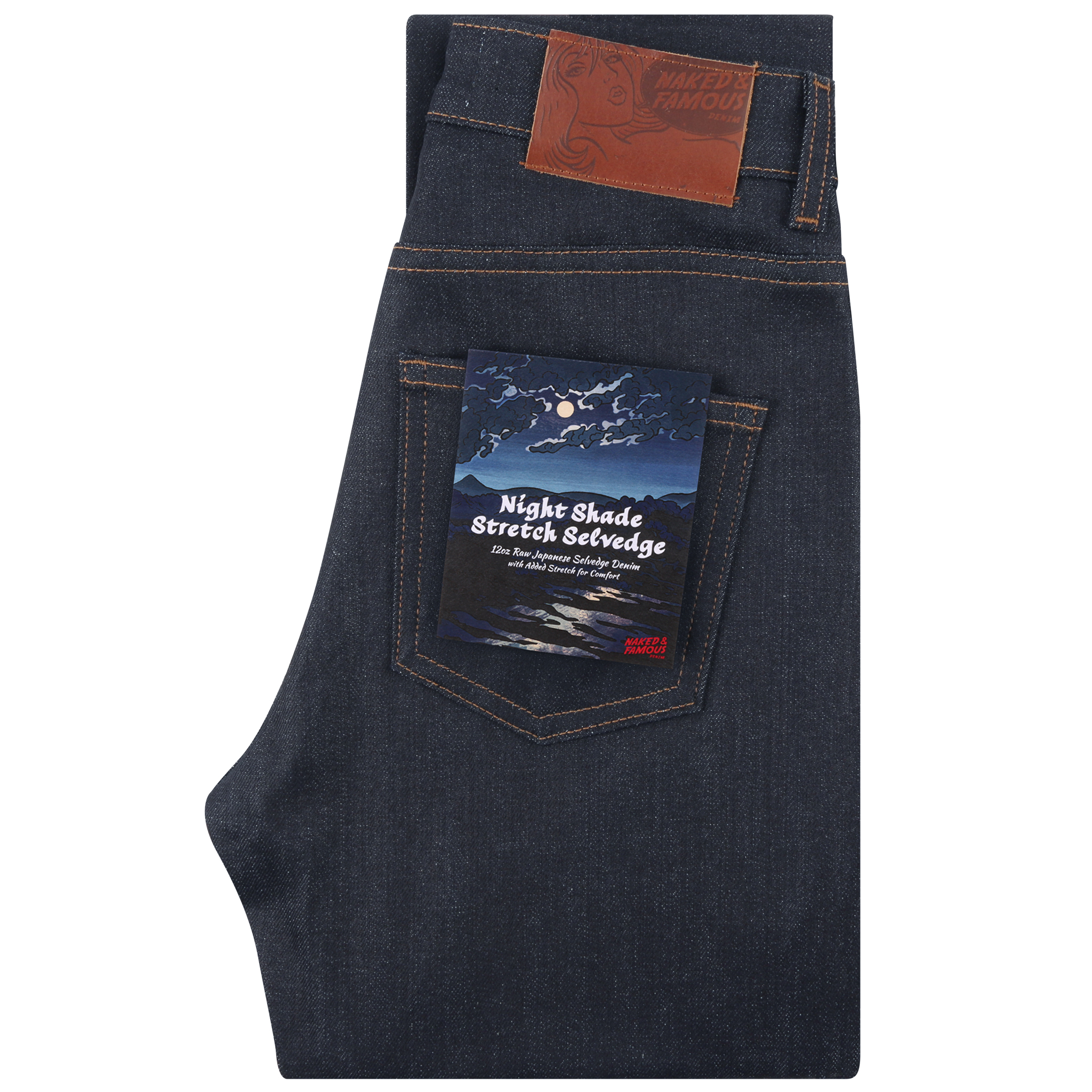 Women's Night Shade Stretch Selvedge Jeans folded view