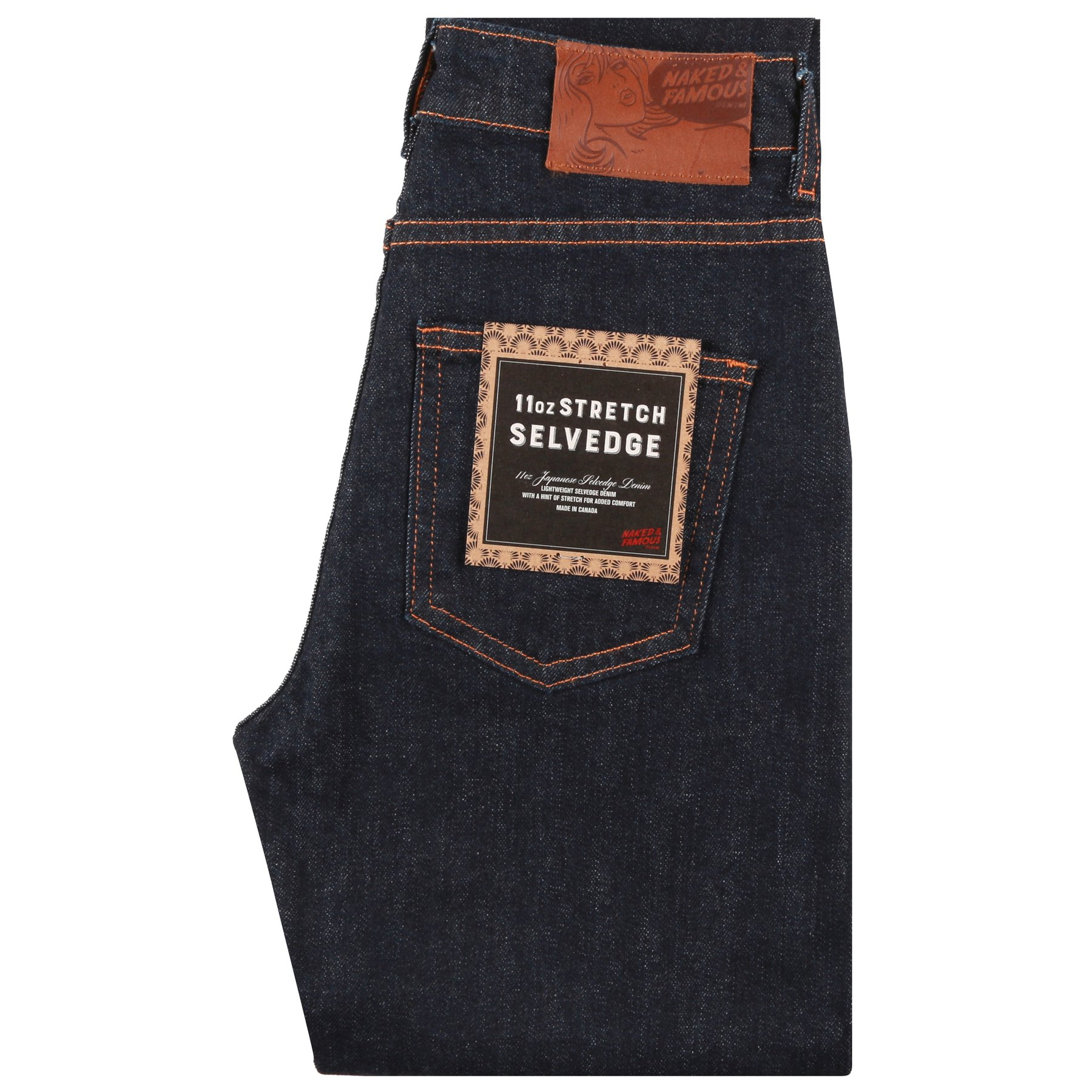 Women's 11oz Stretch Selvedge jeans folded view