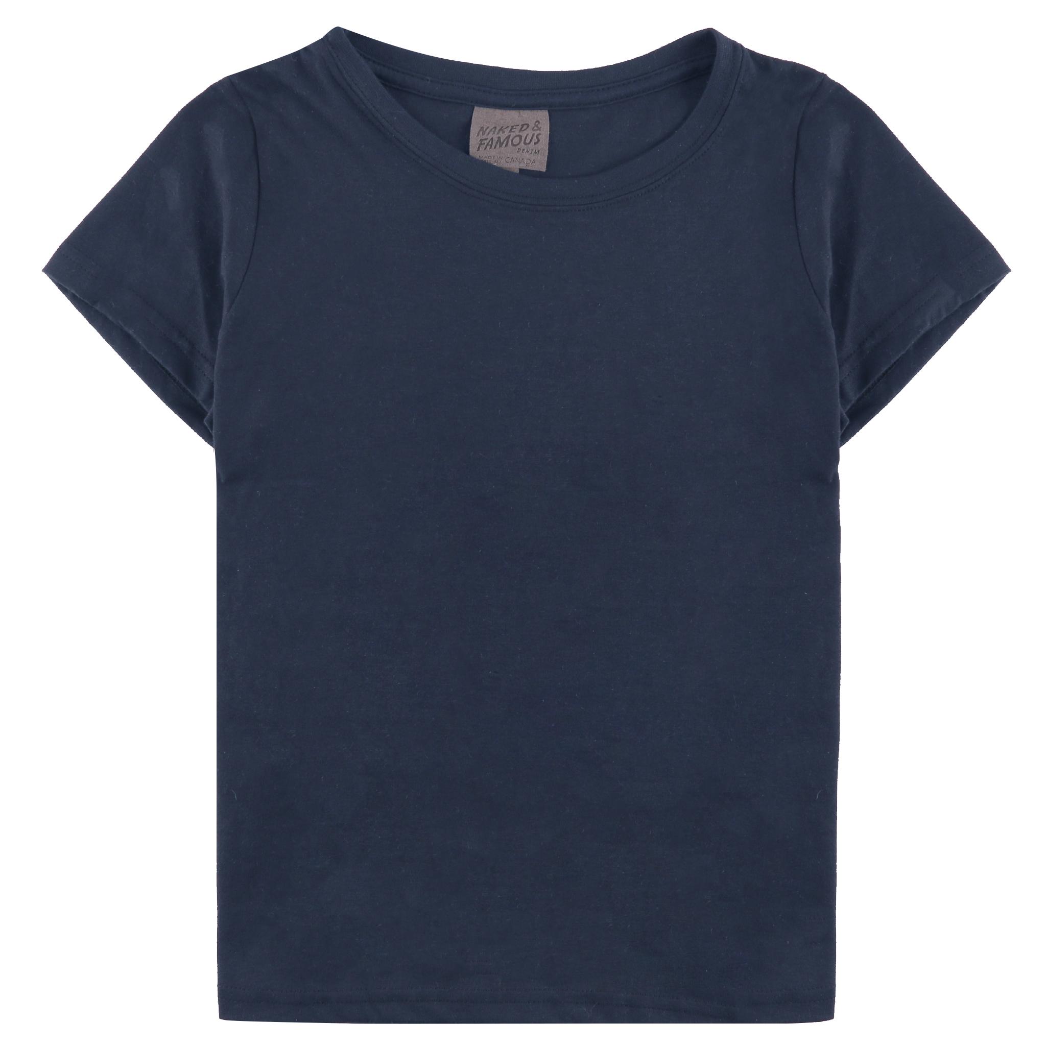 Women's Circular Knit T-shirt Navy Flat View
