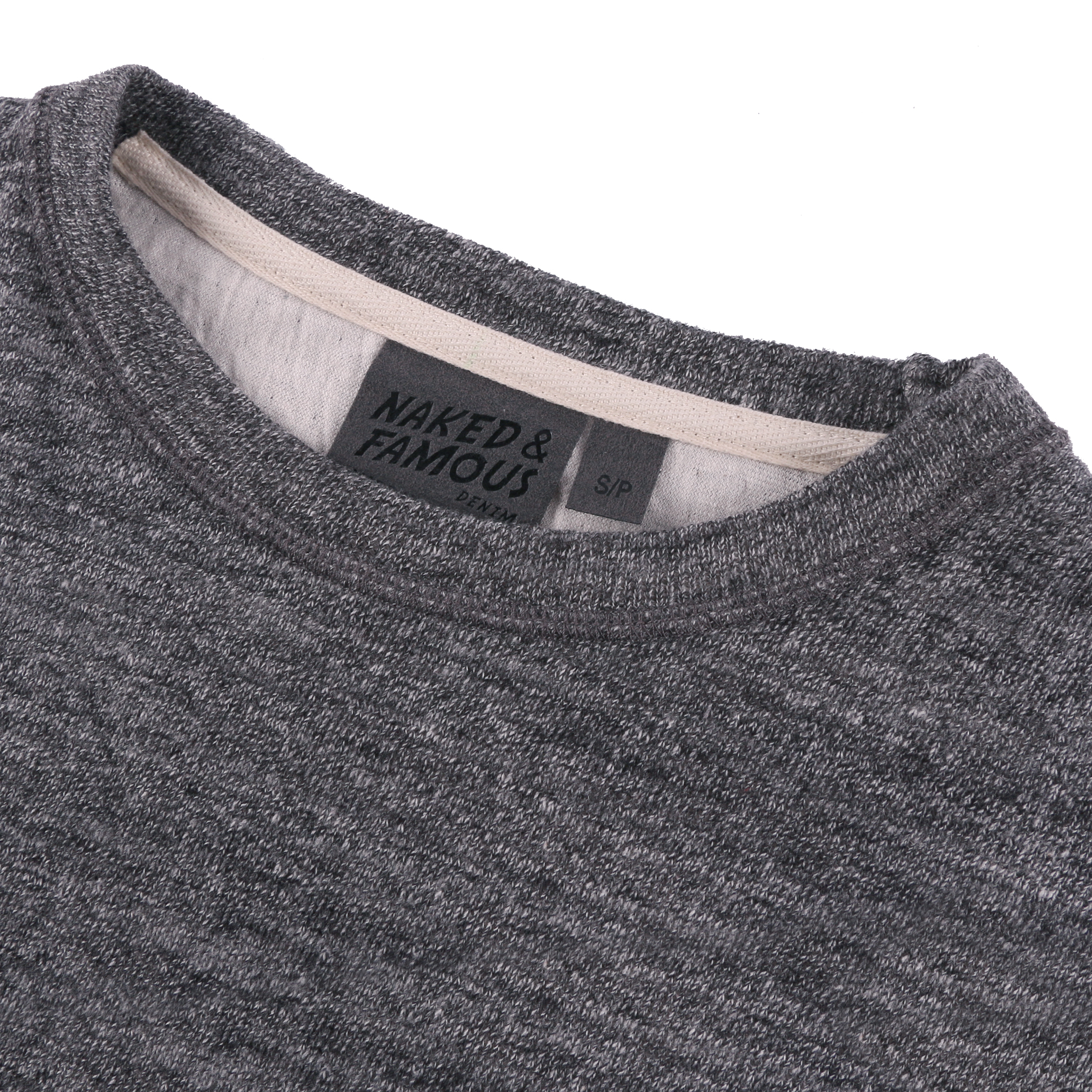 Women's Weekend Crew Vintage Double Face Charcoal Collar View