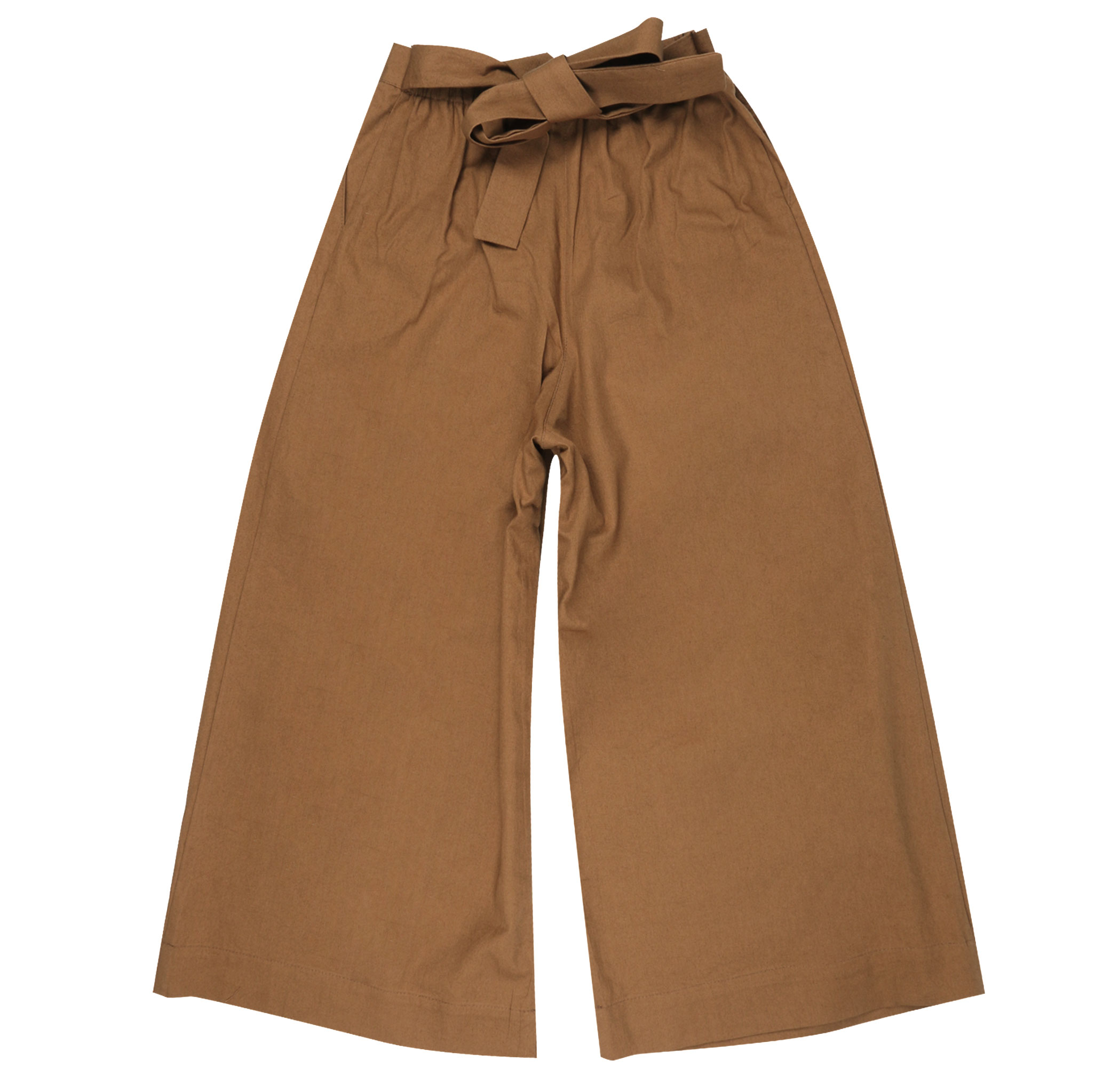 CAMEL RINSED OXFORD - Wide Pants