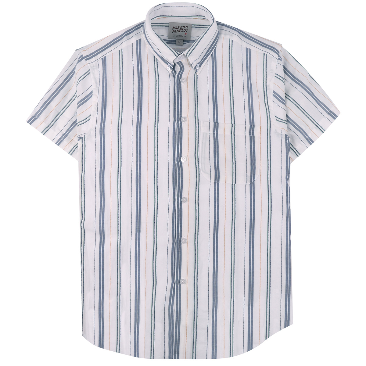 BOUCLÉ STRIPE - WHITE - Short Sleeve Easy Shirt