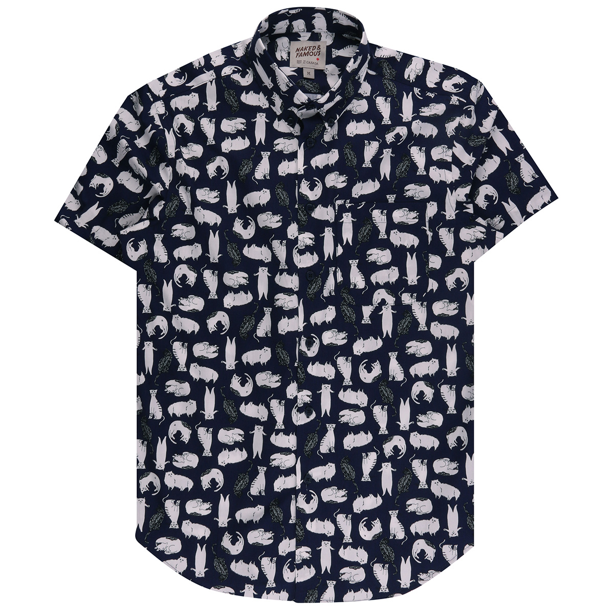 CATS SKETCHES - NAVY - Short Sleeve Easy Shirt
