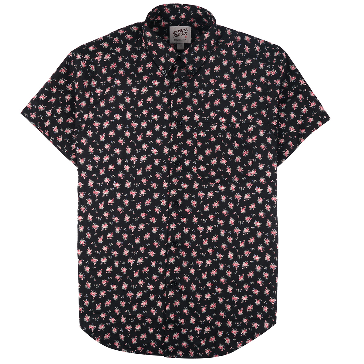 FLOWER PRINT - BLACK - Short Sleeve Easy Shirt