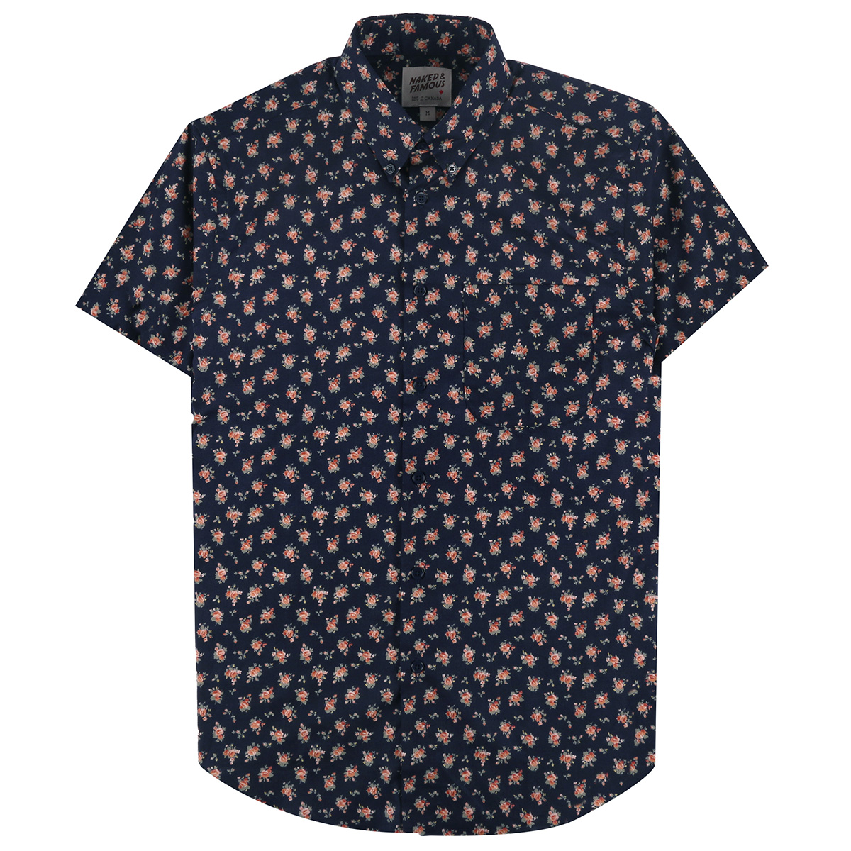 FLOWER PRINT - NAVY - Short Sleeve Easy Shirt