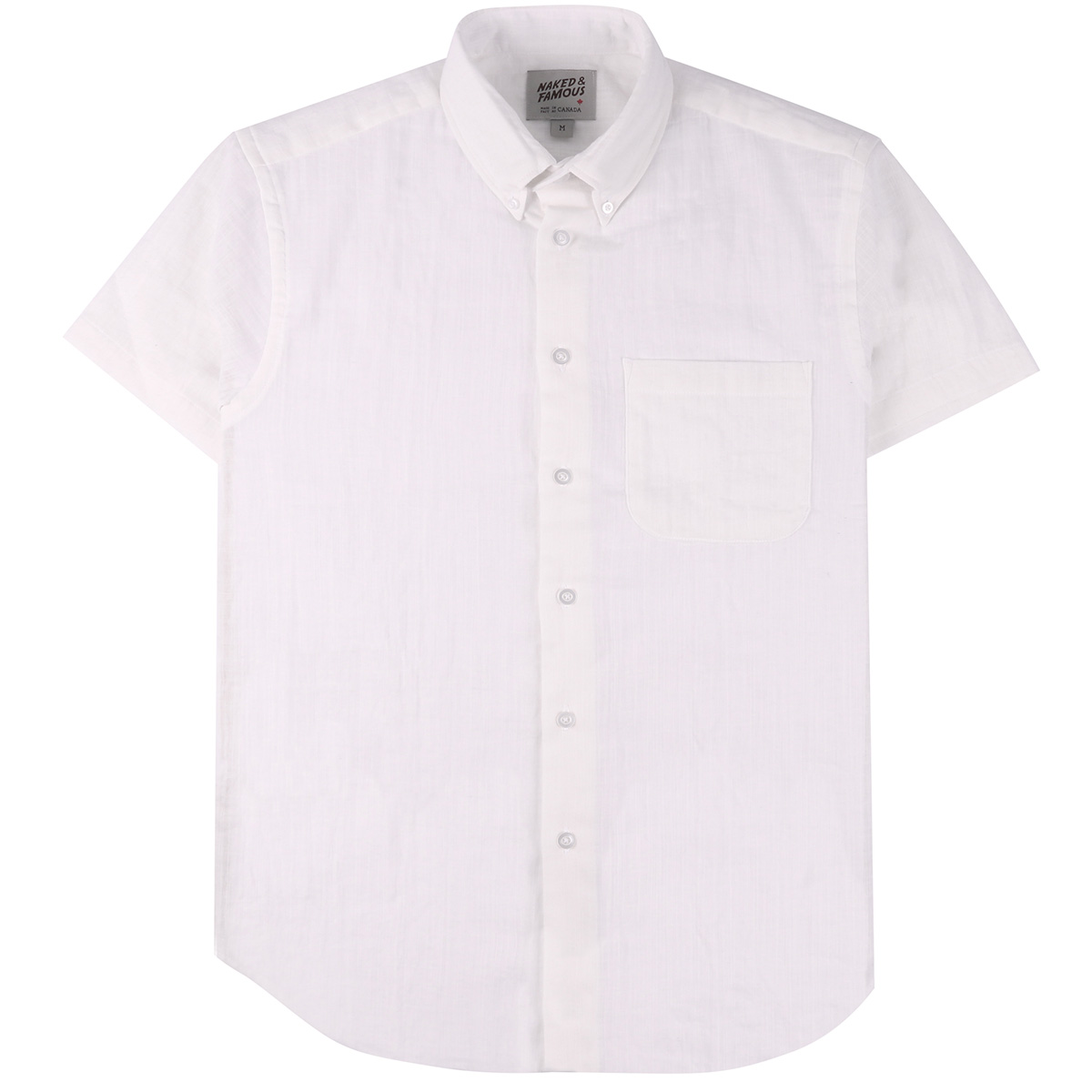 DOUBLE WEAVE GAUZE SLUB - WHITE - Short Sleeve Easy Shirt