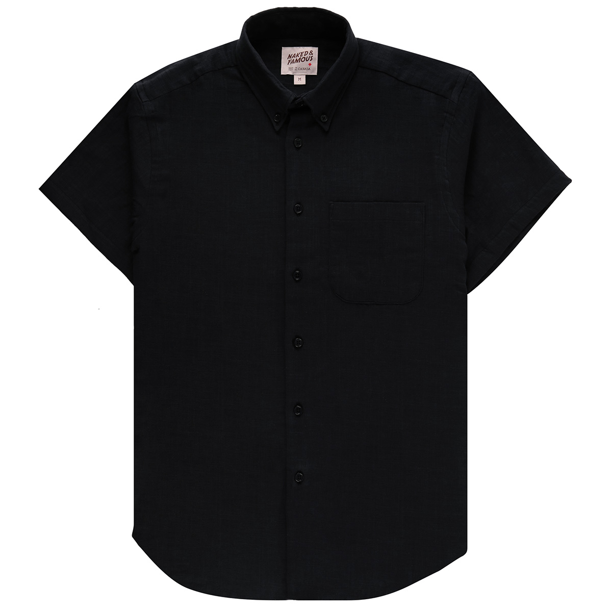 DOUBLE WEAVE GAUZE SLUB - BLACK - Short Sleeve Easy Shirt