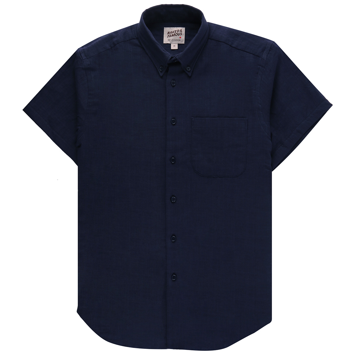 DOUBLE WEAVE GAUZE SLUB - NAVY - Short Sleeve Easy Shirt