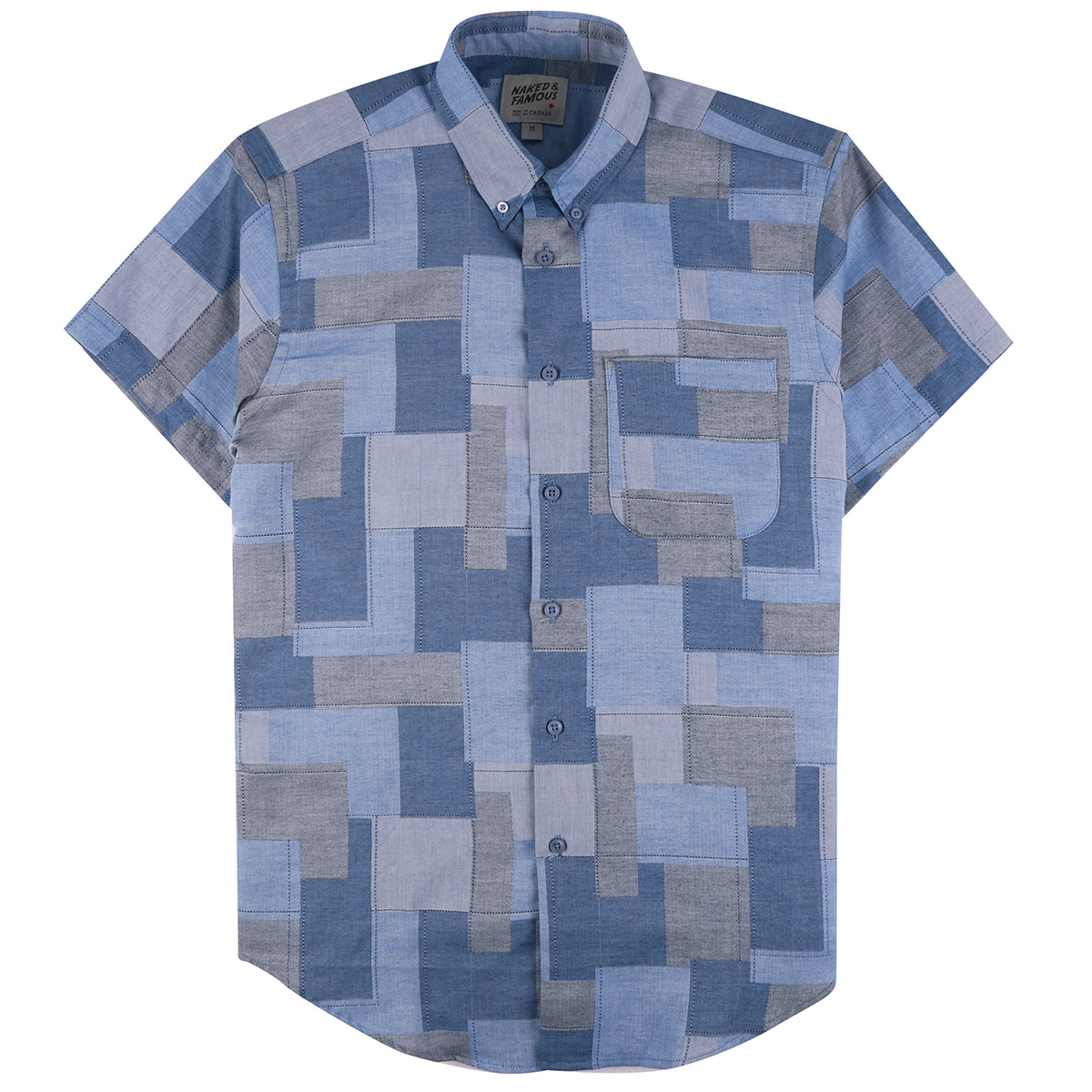 JACQUARD ABSTRACT BLOCKS - Short Sleeve Easy Shirt