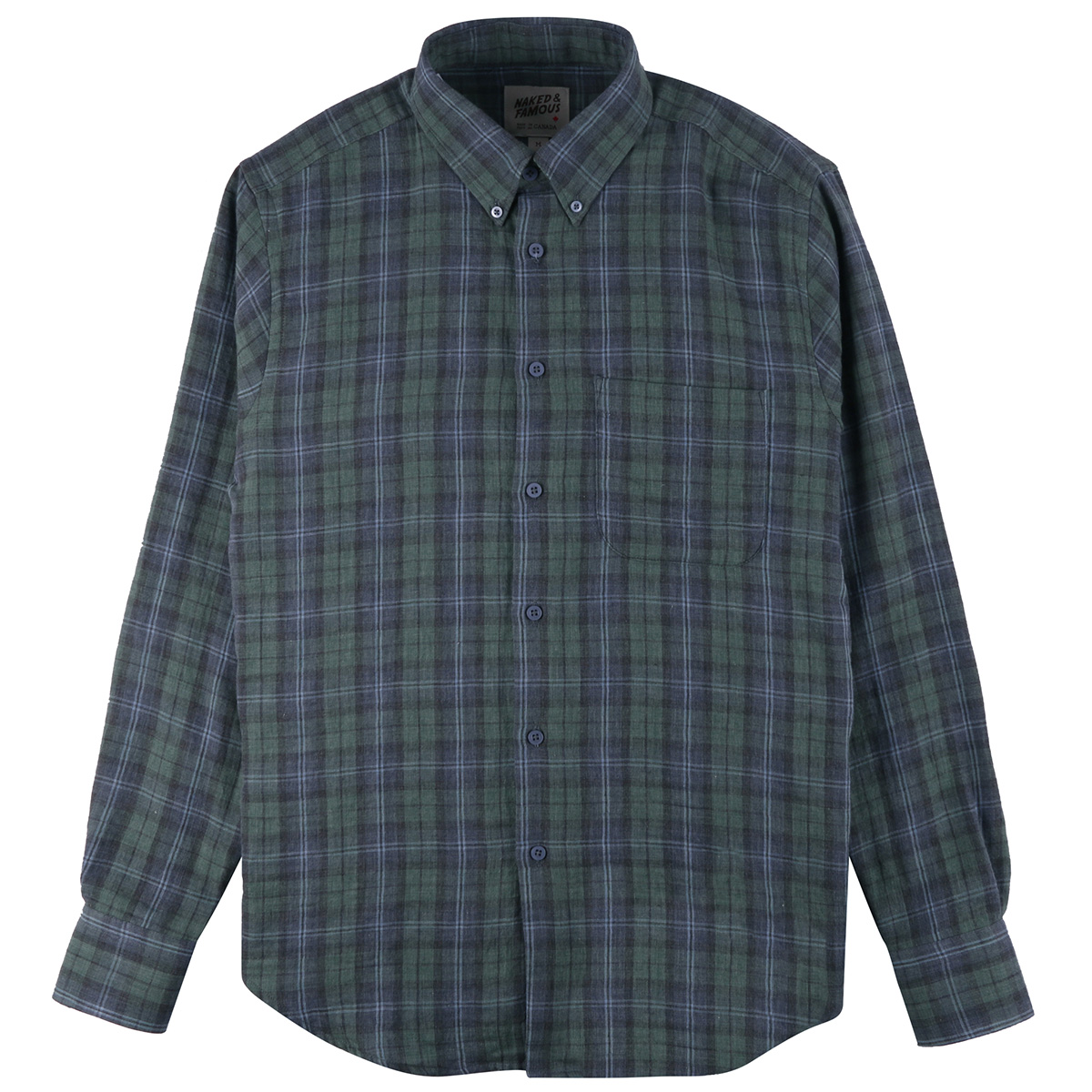 PLAID DOUBLE CLOTH - GREEN/NAVY - Easy Shirt