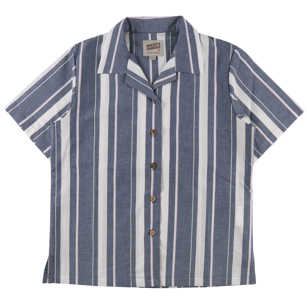 CHAMBRAY SLUB STRIPE - INDIGO - Camp Collar Shirt