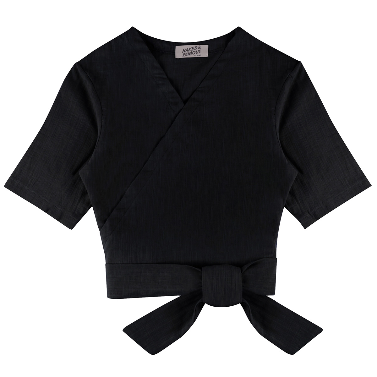DOUBLE WEAVE GAUZE - BLACK - Wrap Top