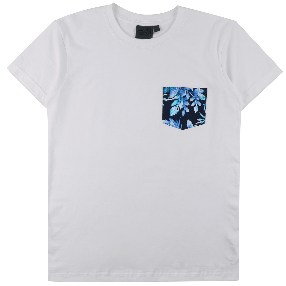 WHITE + BIG TROPICAL - Pocket Tee
