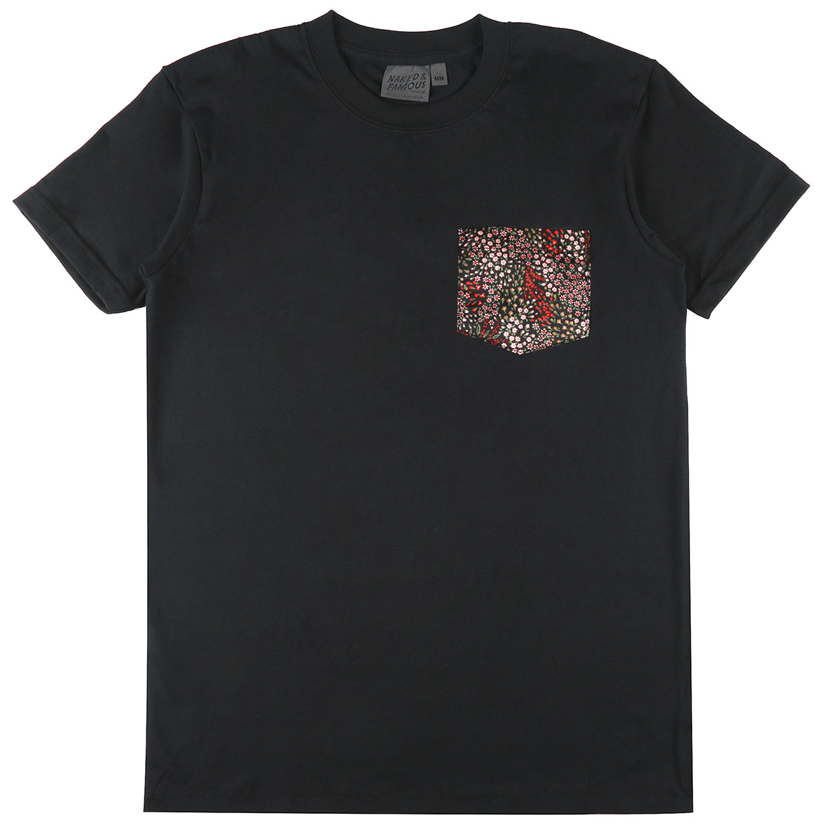 BLACK + ALLOVER FLOWERS - Pocket Tee