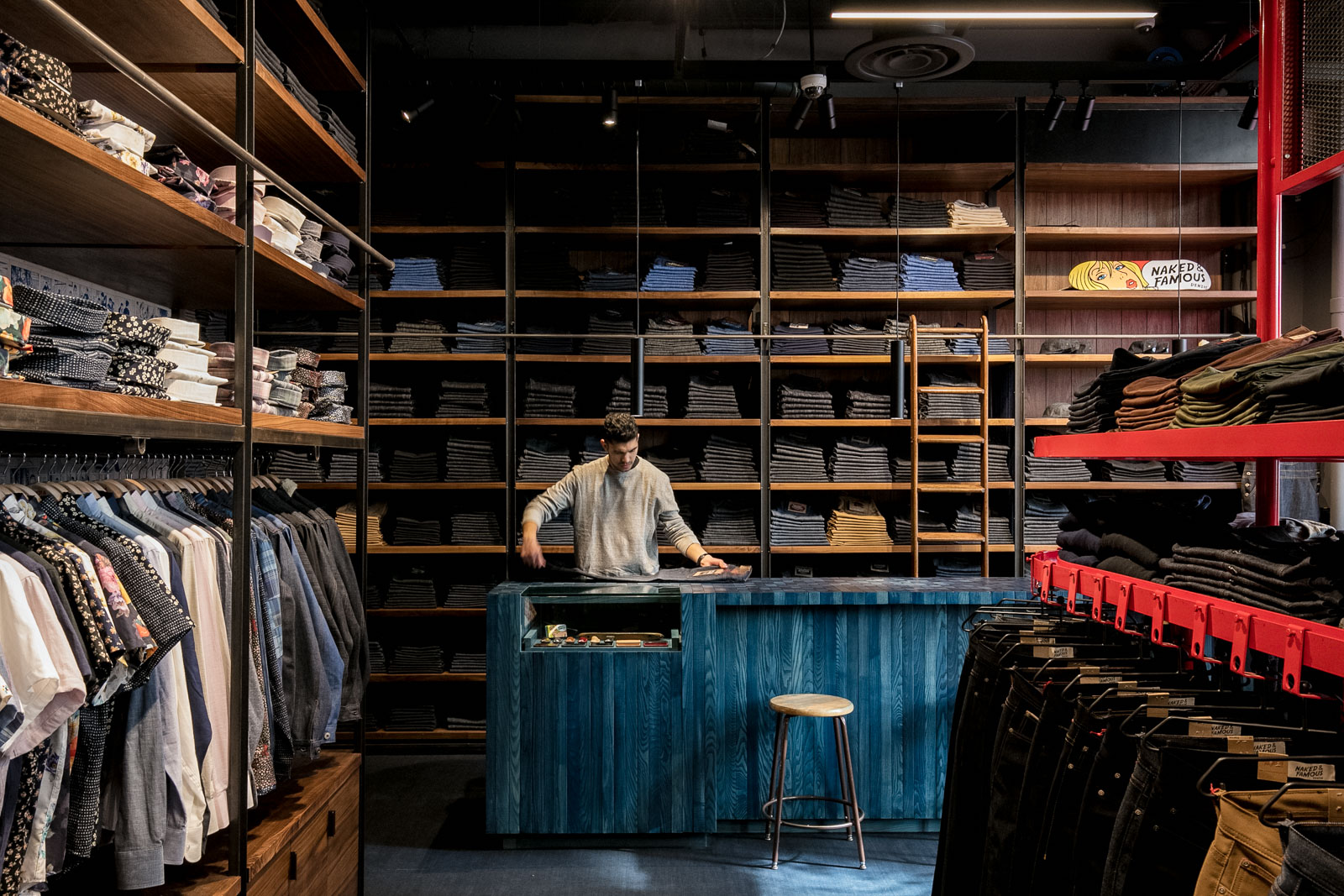 naked & famous denim NYC store interior