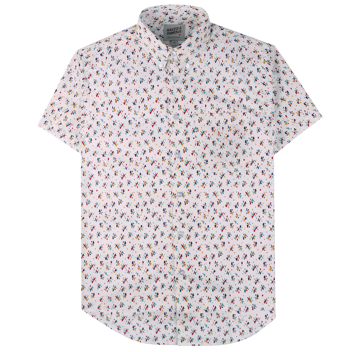 VINTAGE MOD PRINT - WHITE - Short Sleeve Easy Shirt