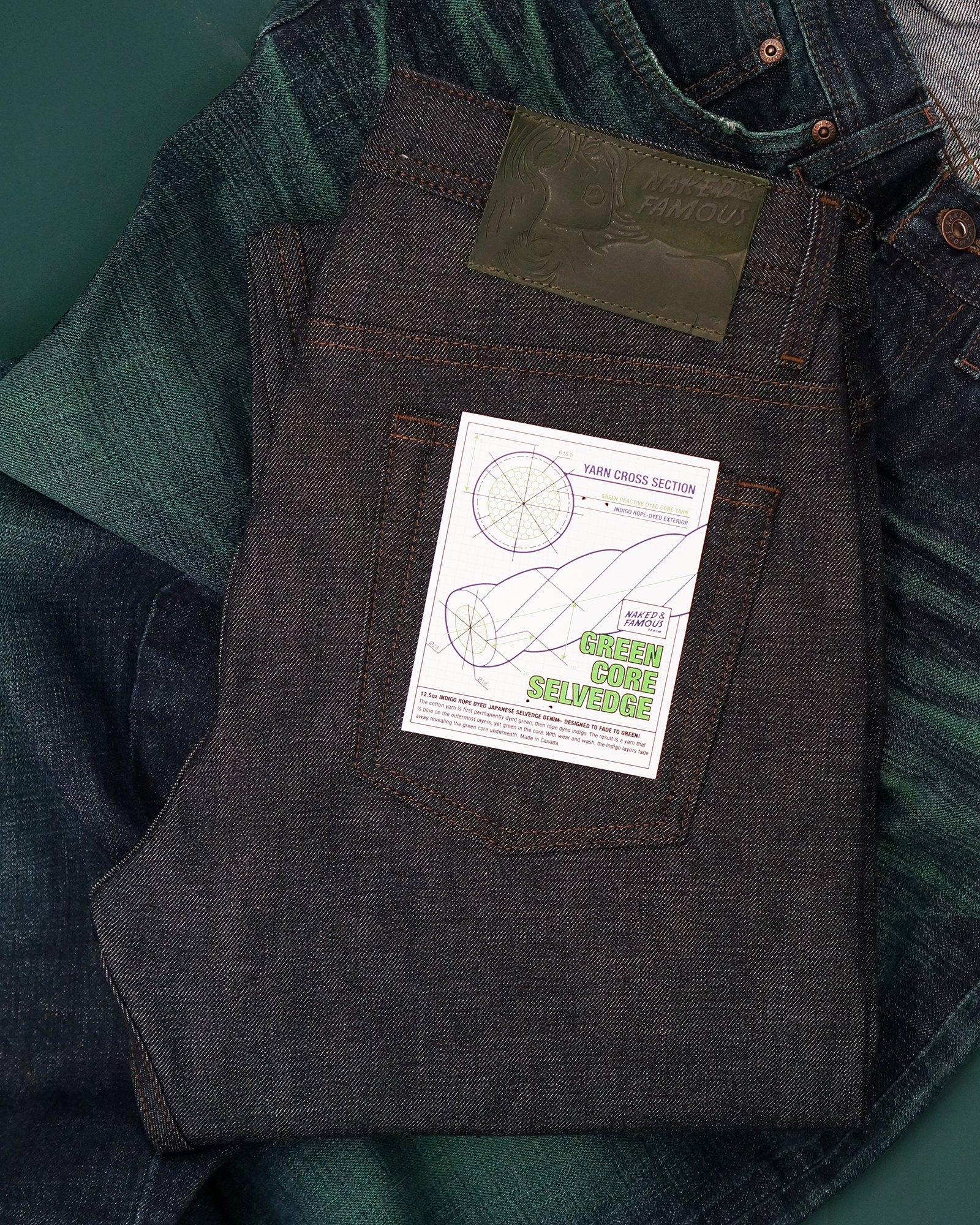 Green Core Selvedge jeans folded