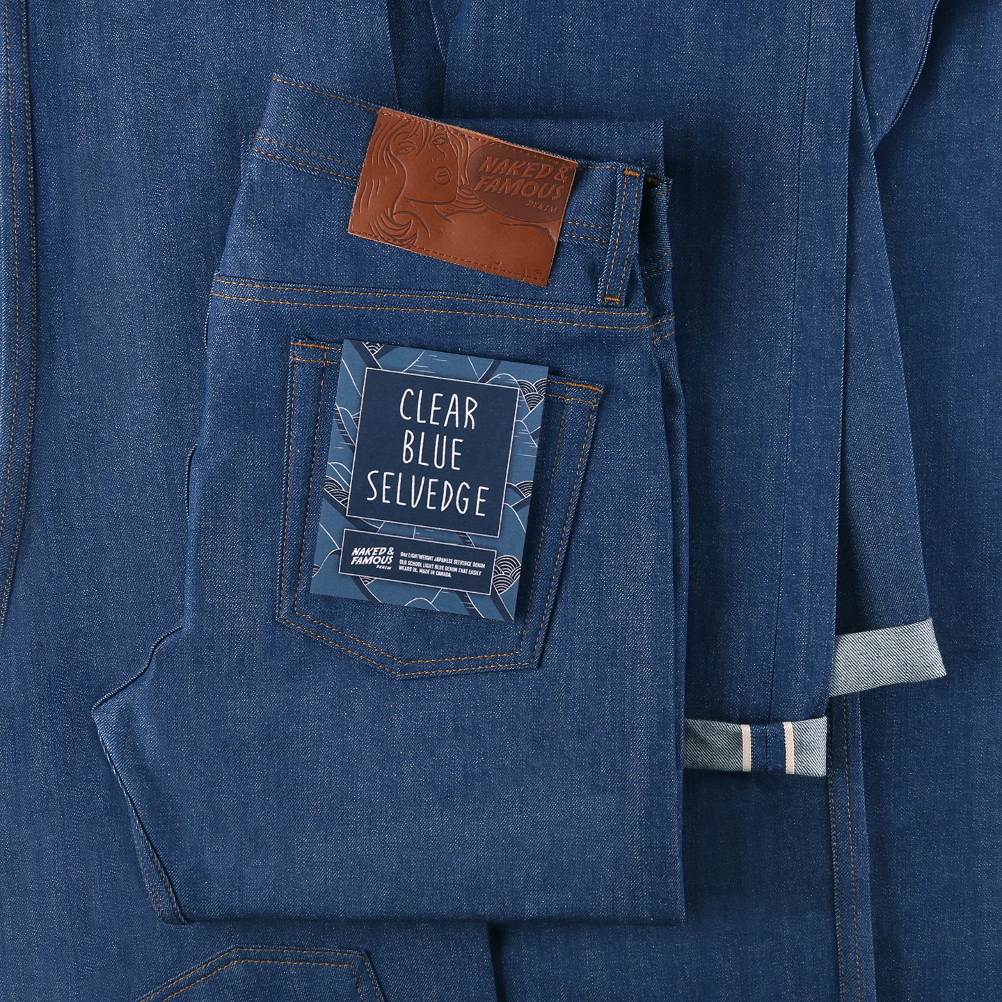 clear blue selvedge jeans folded