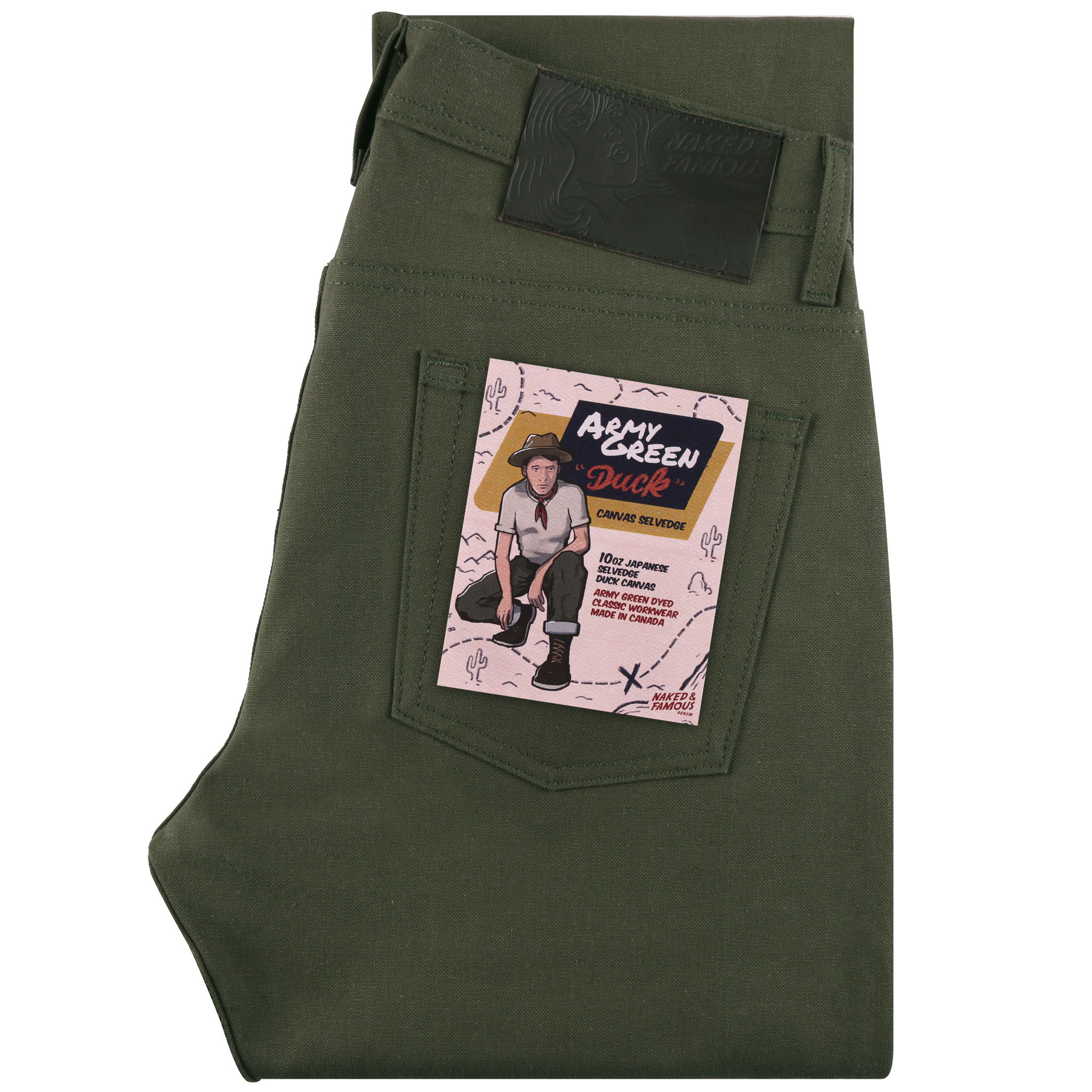 Army Green Duck Canvas Selvedge Jean Folded View