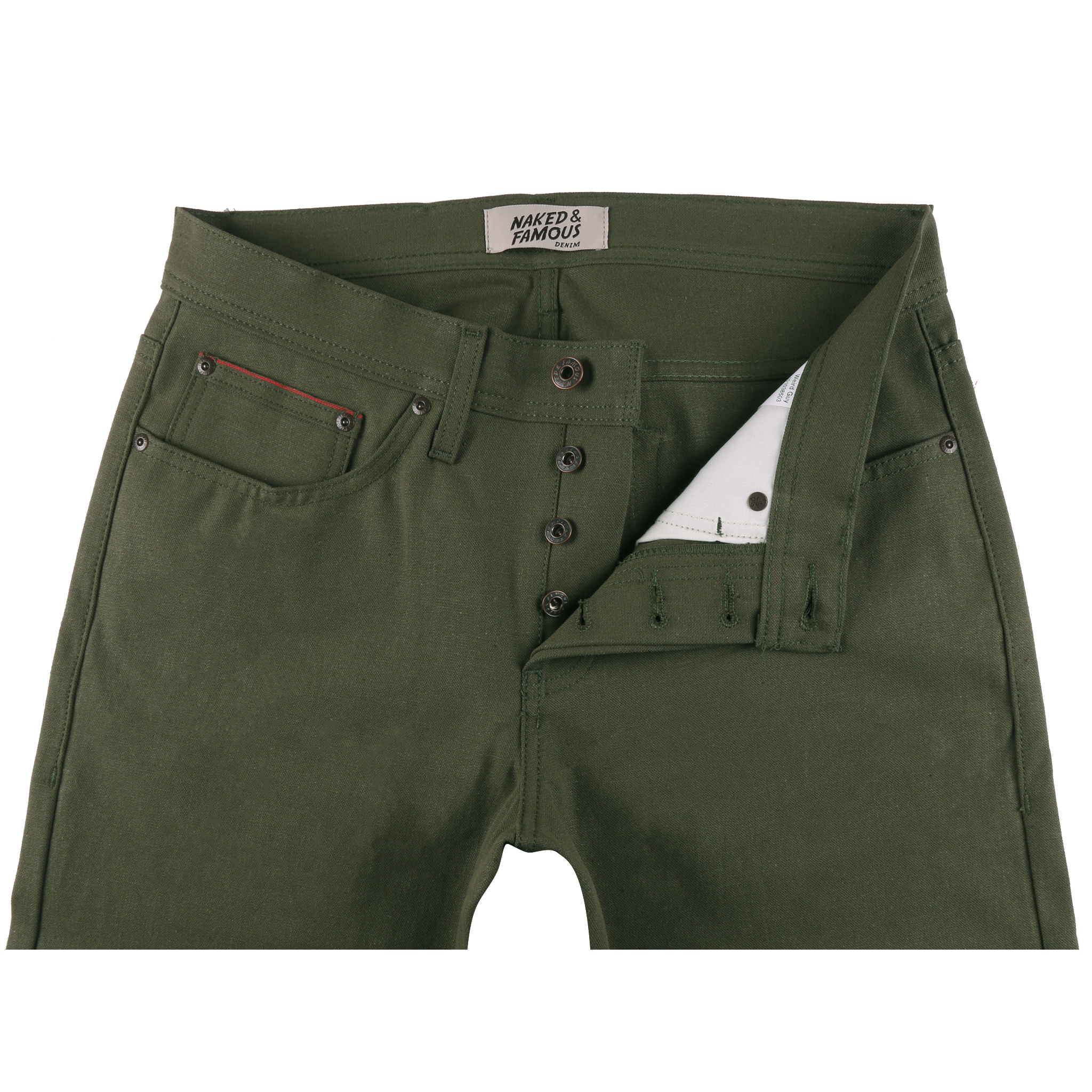 Army Green Duck Canvas Selvedge Jean Front View