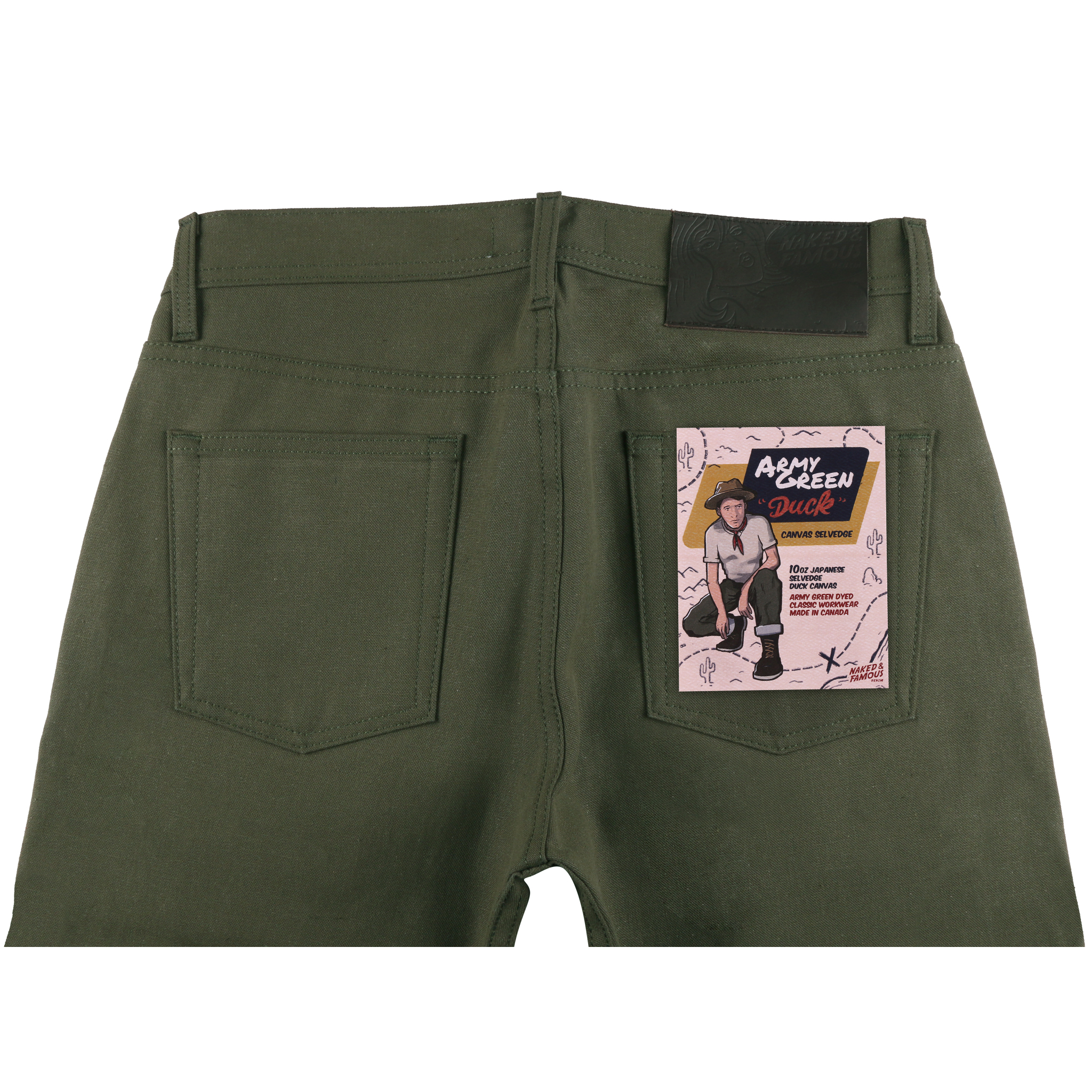 Army Green Duck Canvas Selvedge Jean Back View