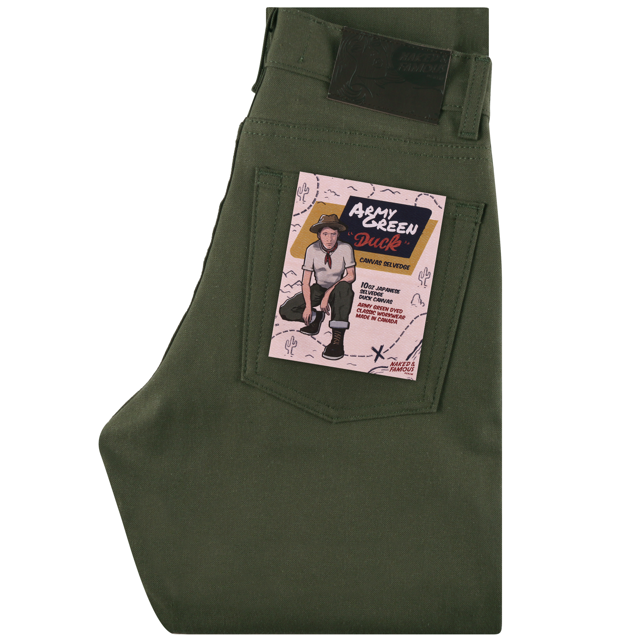 Army Green Duck Canvas SELVEDGE - Max / Classic