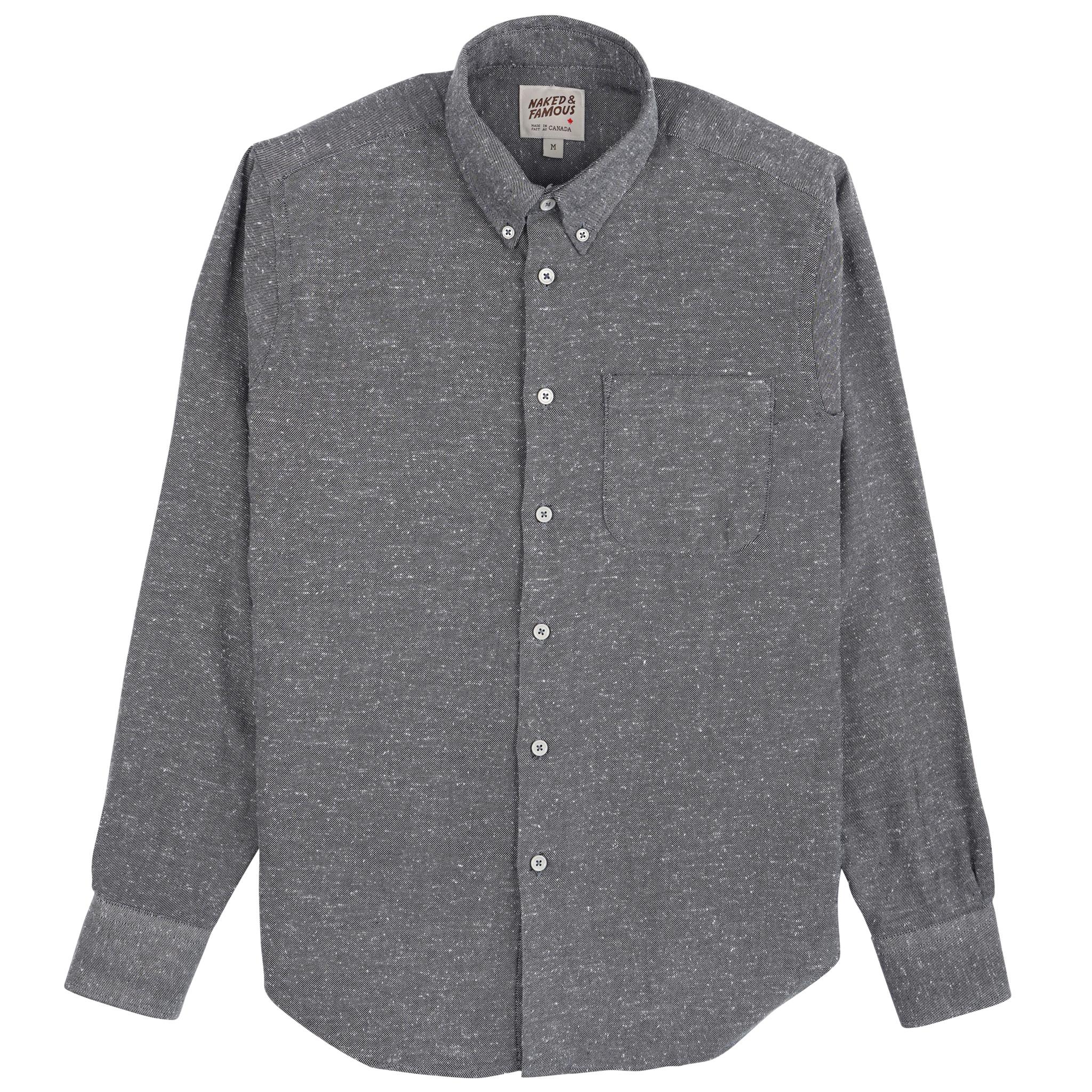Silk Blend Nep Twill - Grey - Easy Shirt