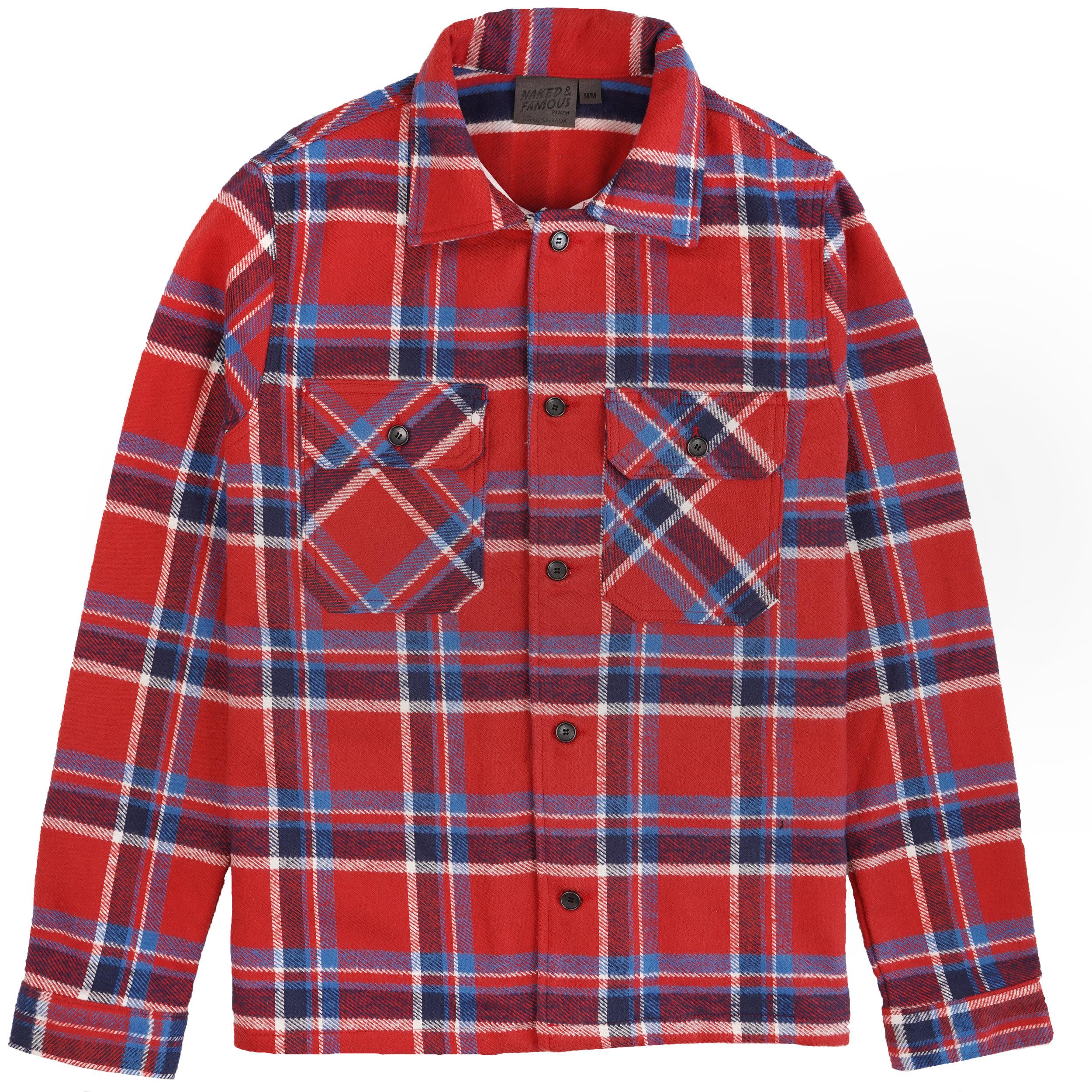 heavyweight Vintage Flannel - Red - Workshirt