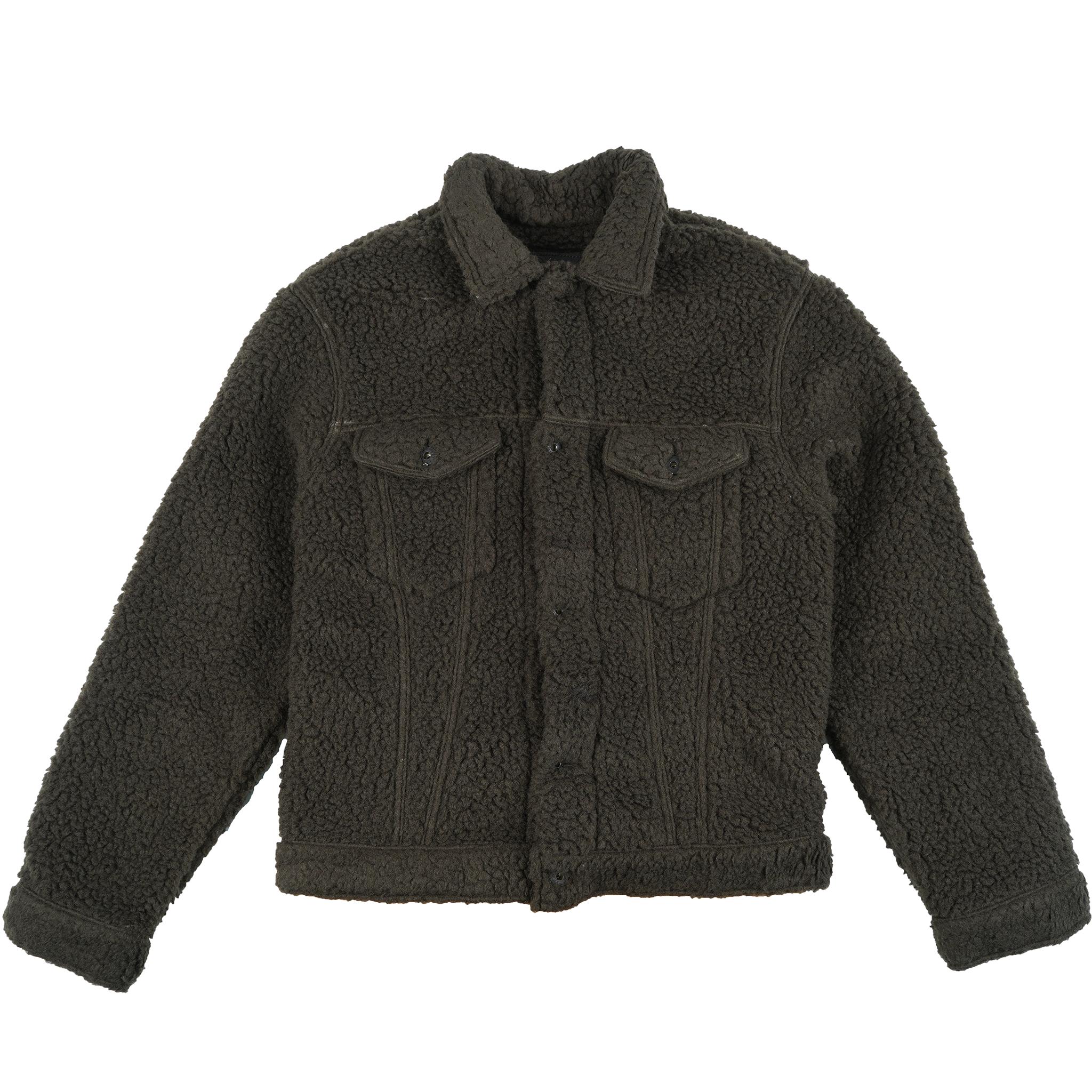 Sherpa Fleece - Forest Green - Denim Jacket
