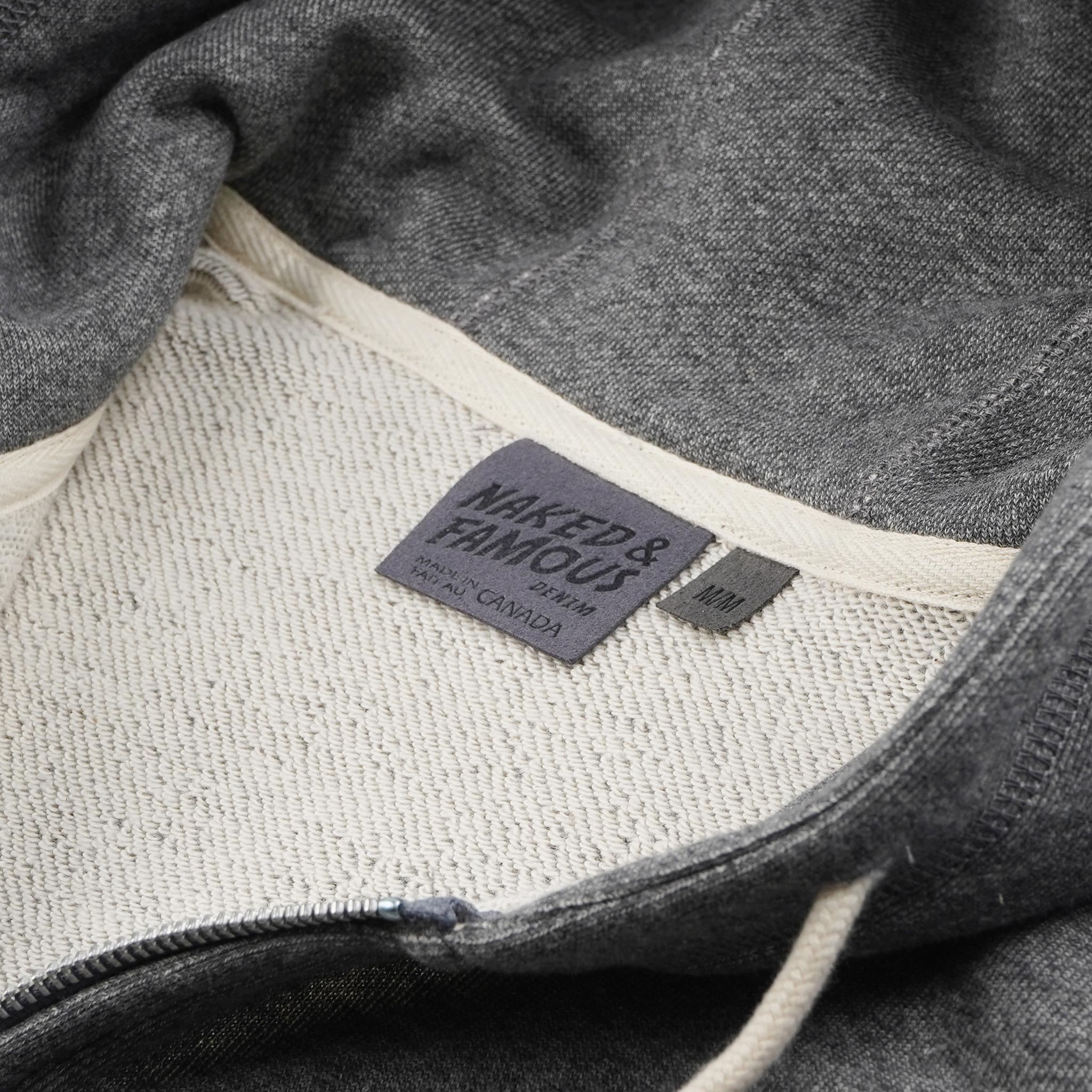 Zip Hoodie Charcoal collar view