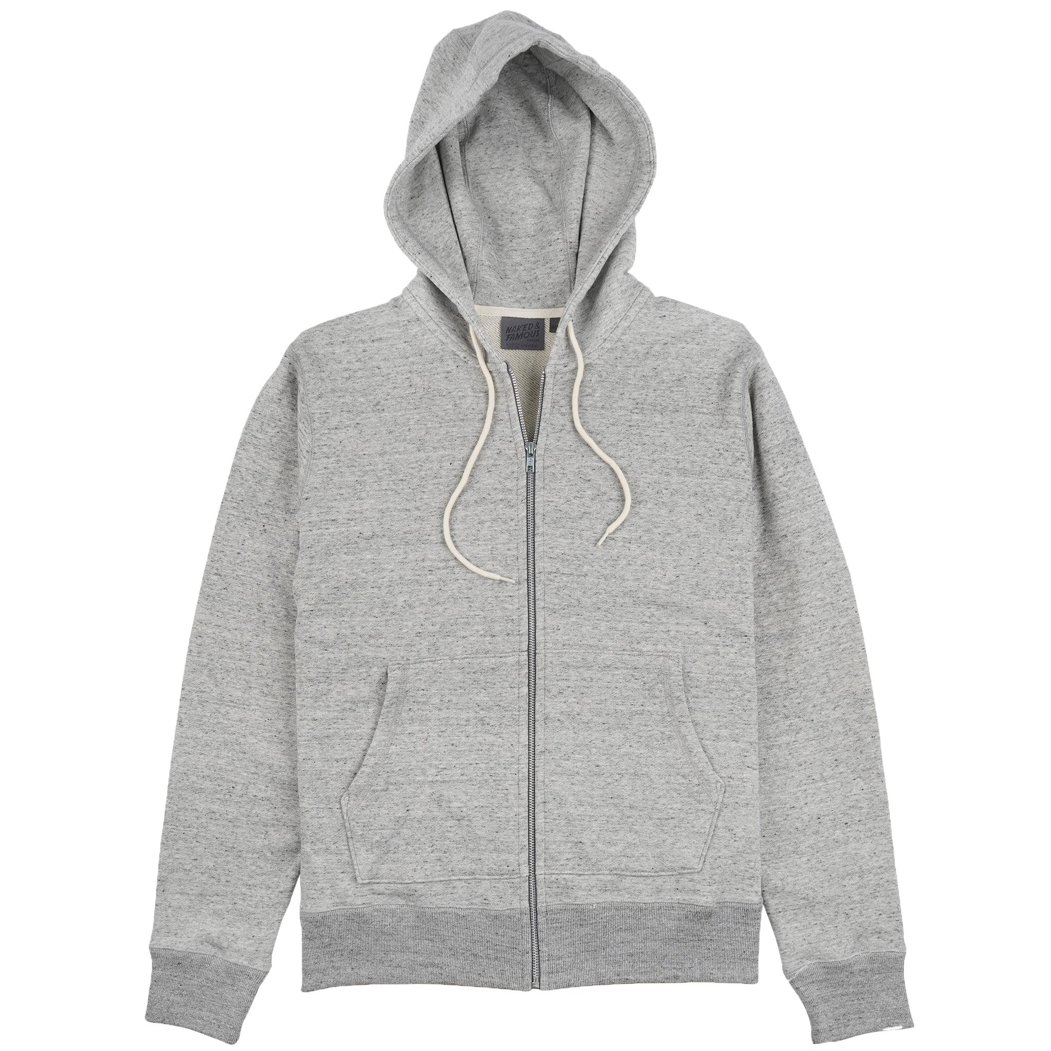 Zip Hoodie Grey front view
