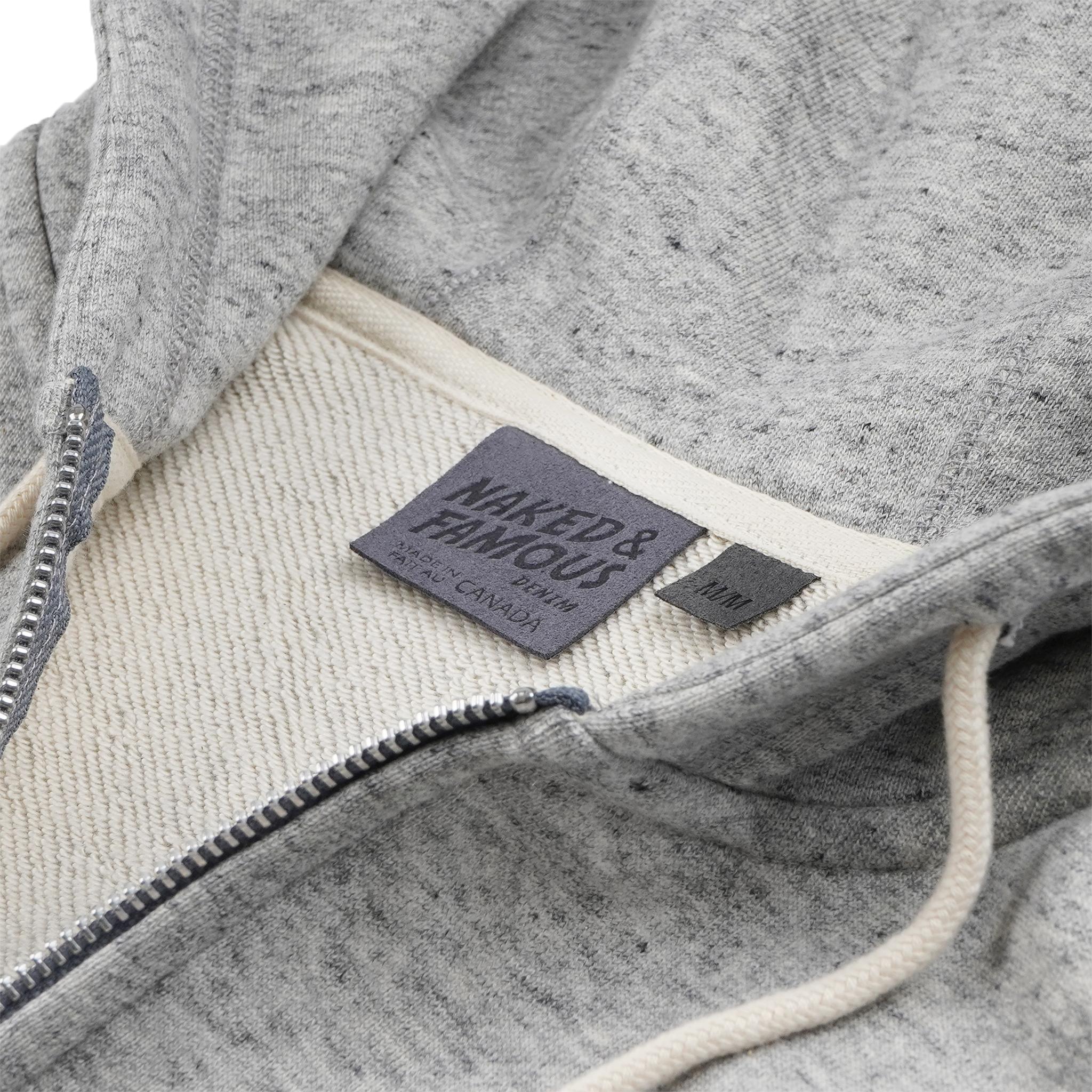 Zip Hoodie Grey collar view